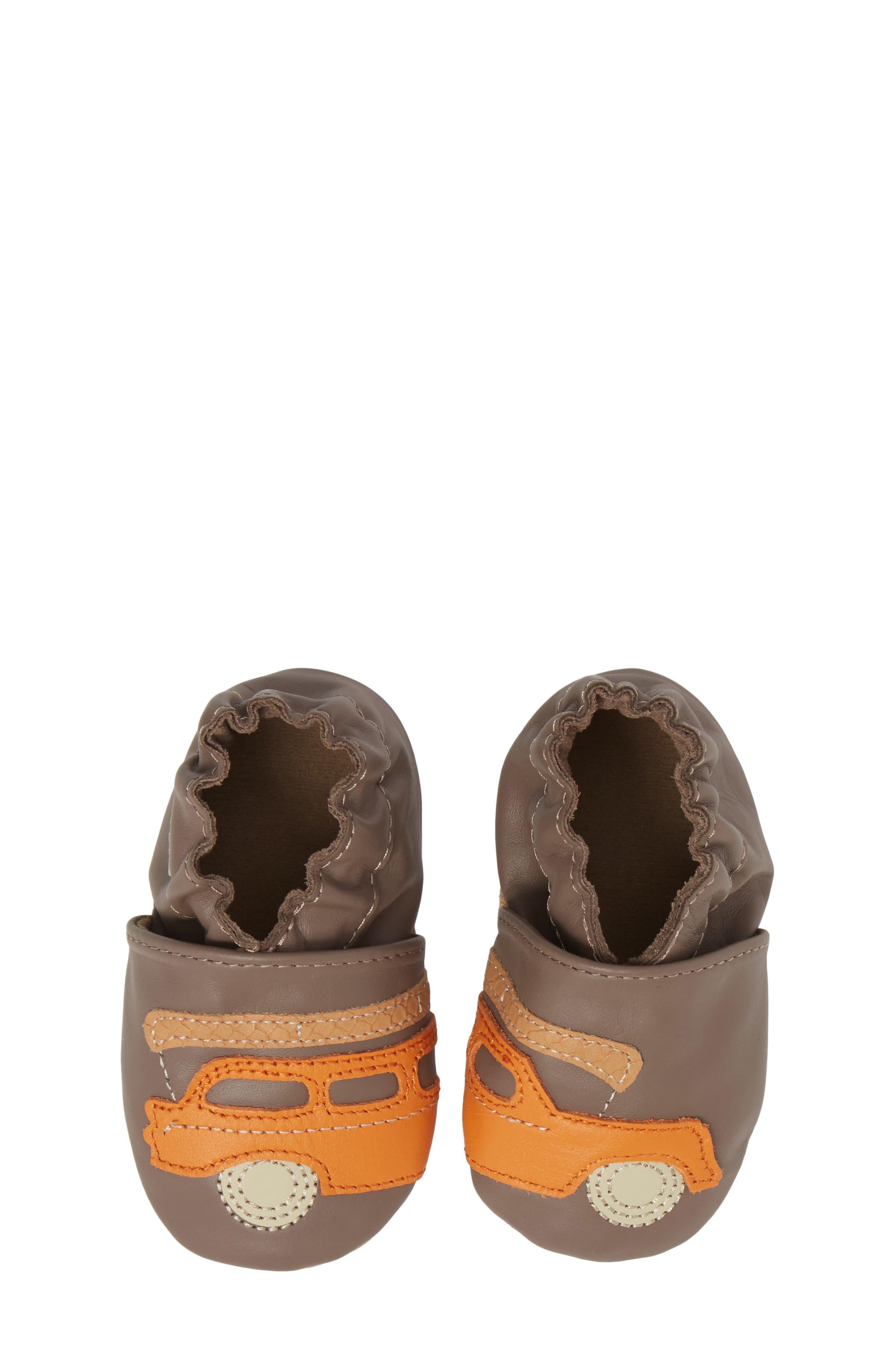 Alternate Image 1 Selected - Robeez® Life is an Adventure Crib Shoe (Baby & Walker)