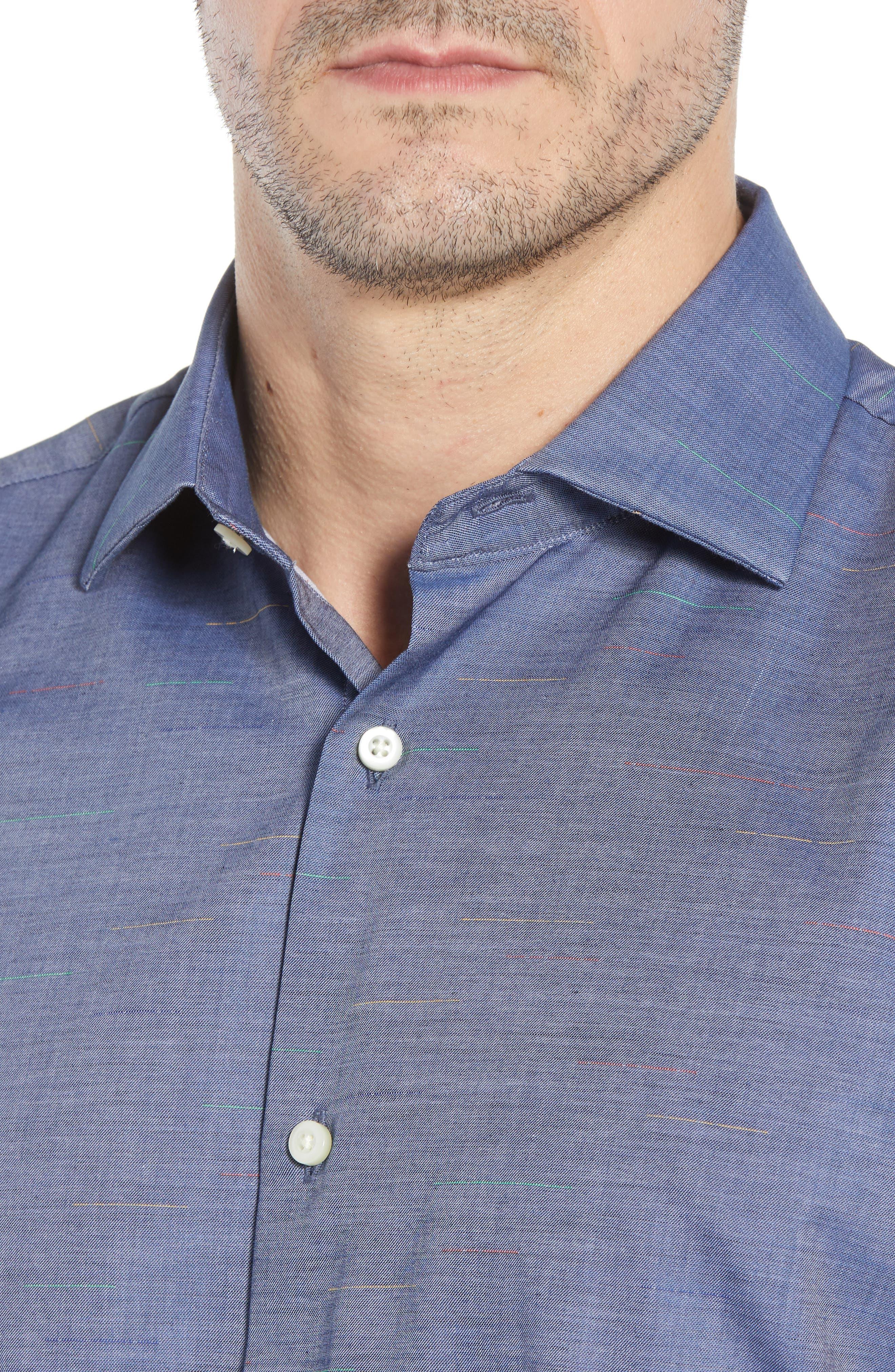 Regular Fit Chambray Sport Shirt,                             Alternate thumbnail 4, color,                             Blue