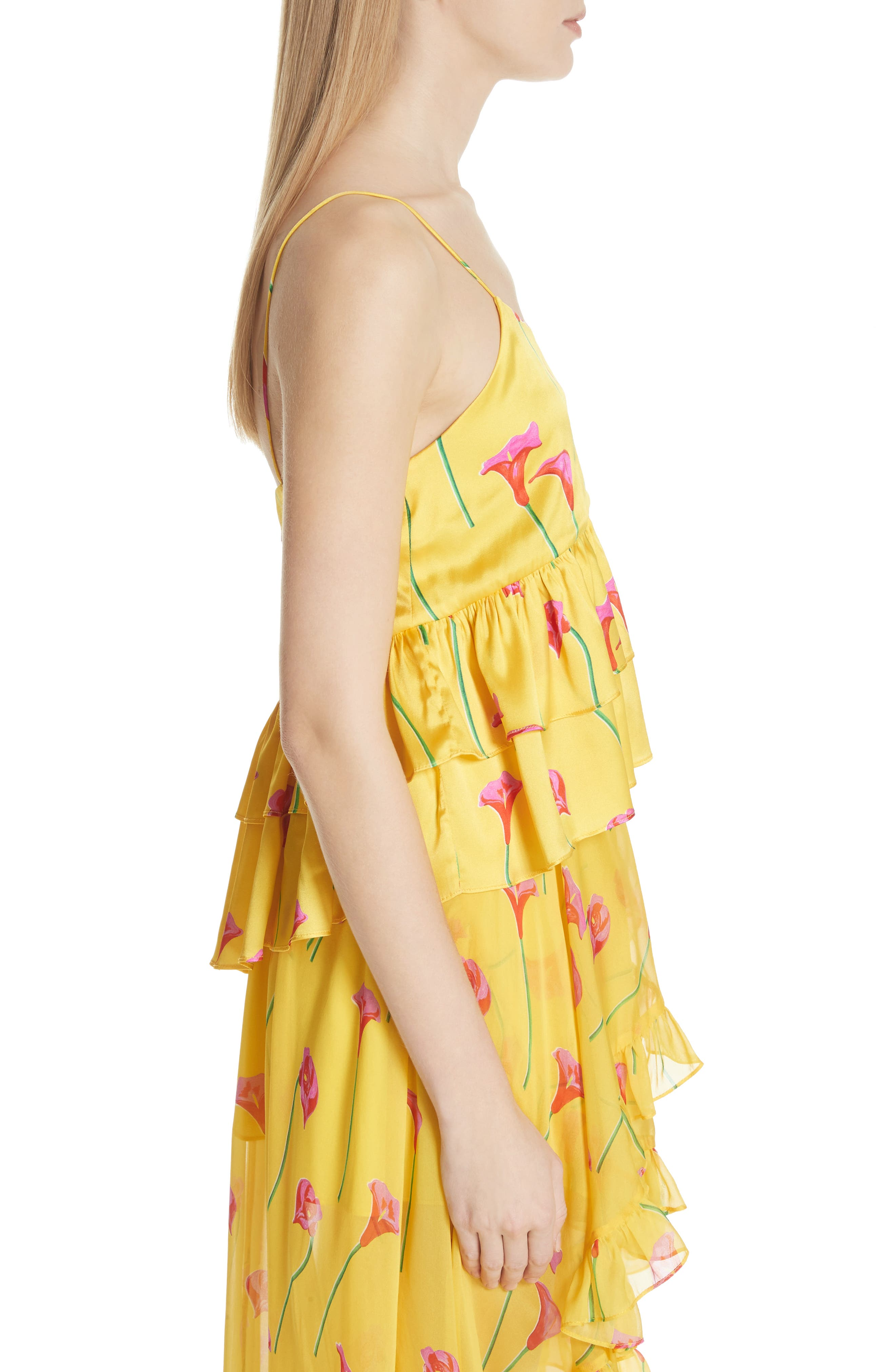 Nadine Stretch Silk Blouse,                             Alternate thumbnail 3, color,                             Yellow