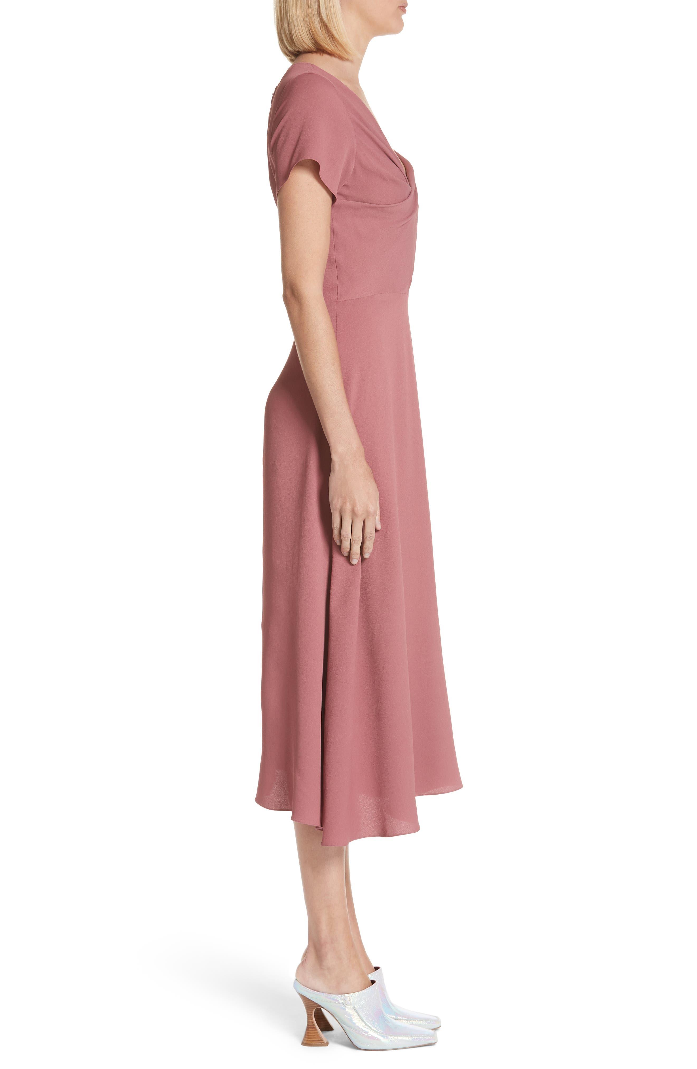 Asymmetrical Fold Bodice Dress,                             Alternate thumbnail 3, color,                             Dark Salmon
