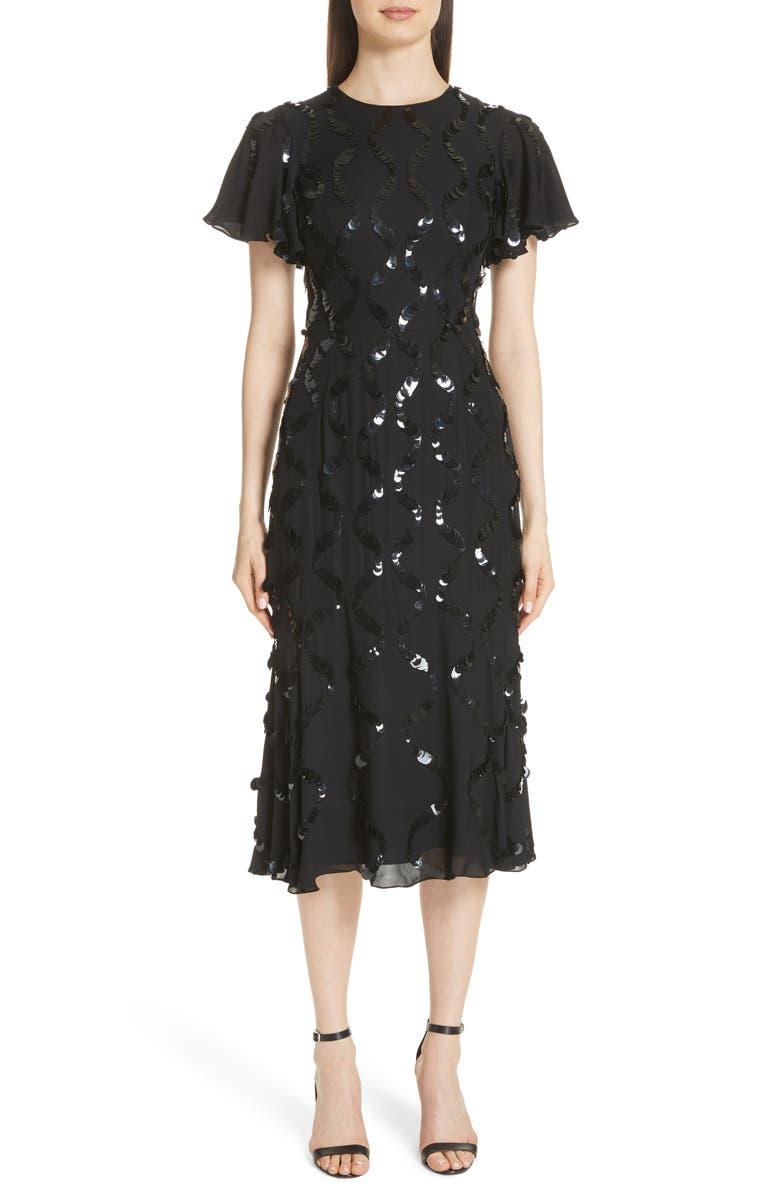 Sequin Flutter Sleeve Silk Dress