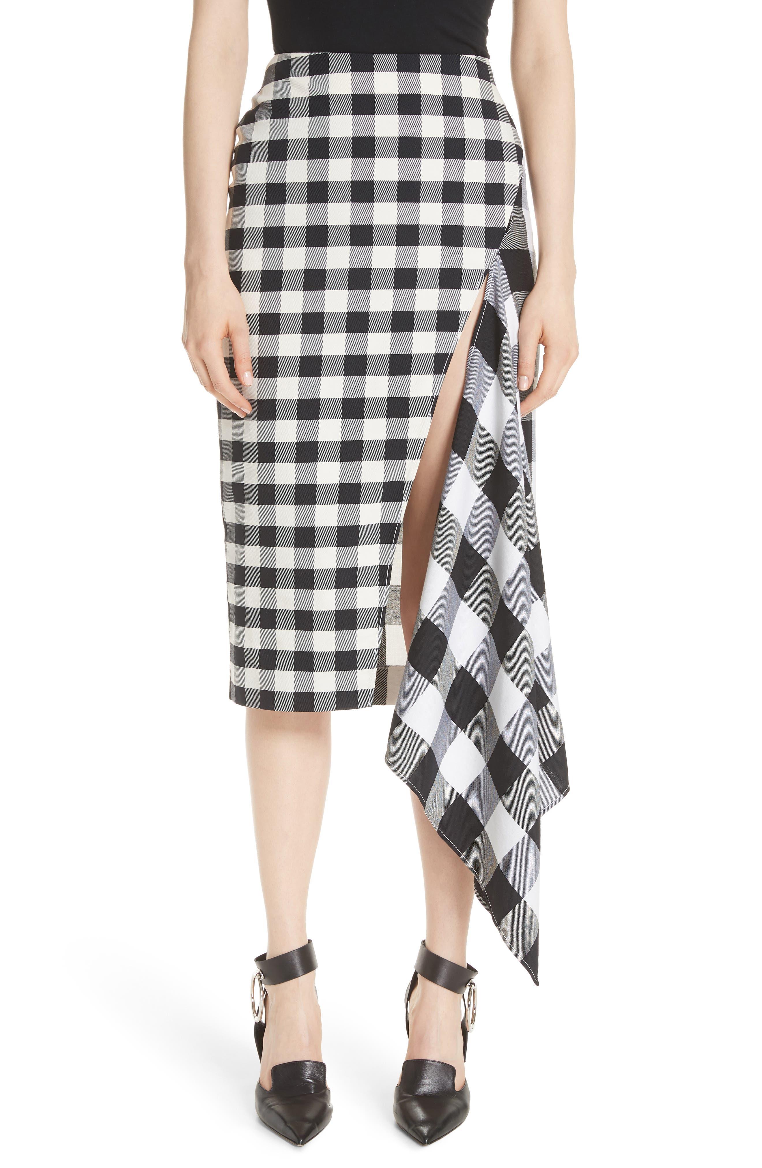 MONSE Gingham Slash Detail Wool Blend Gingham Skirt