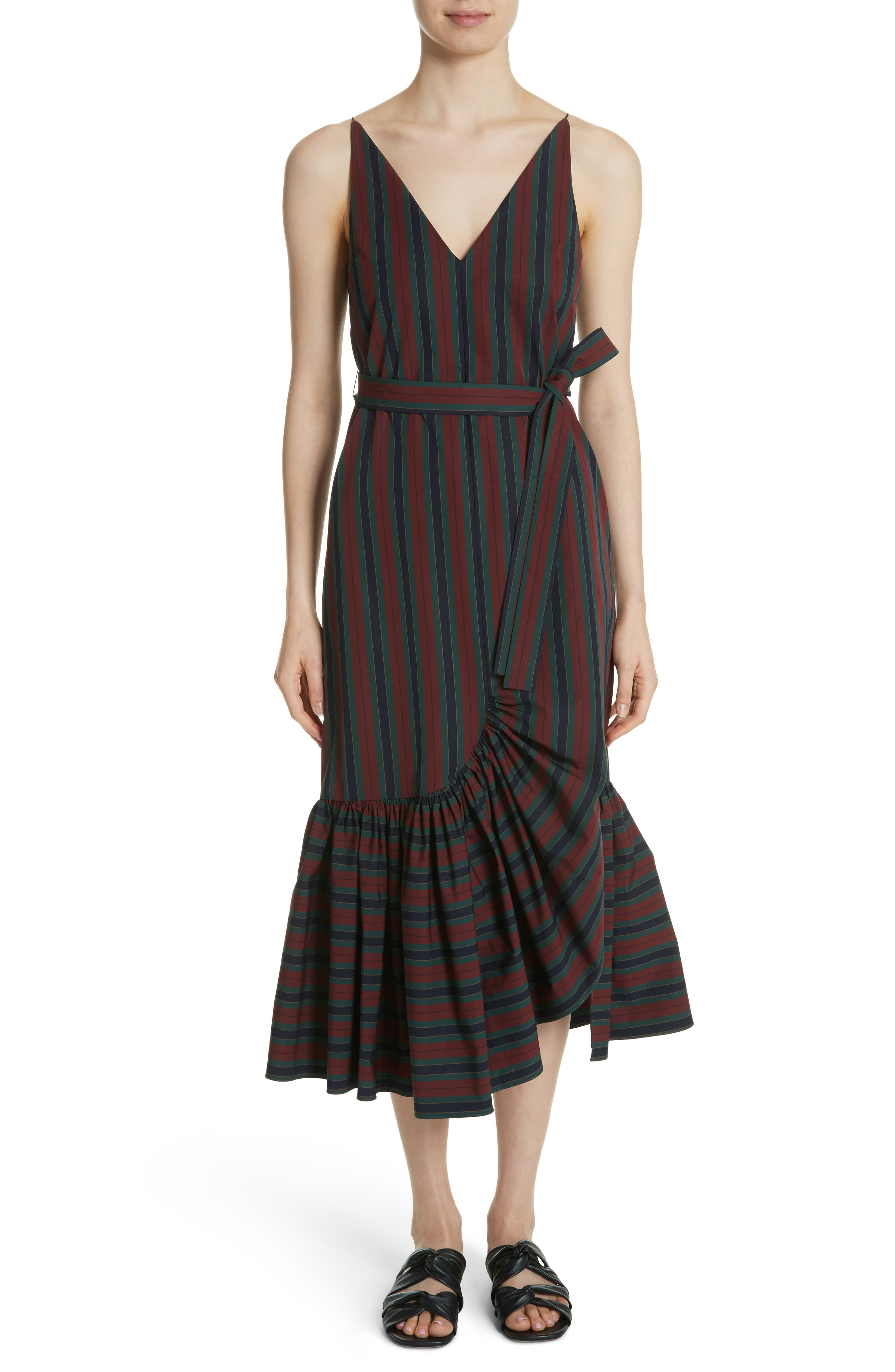 Rosetta Getty Belted Flare Hem Dress