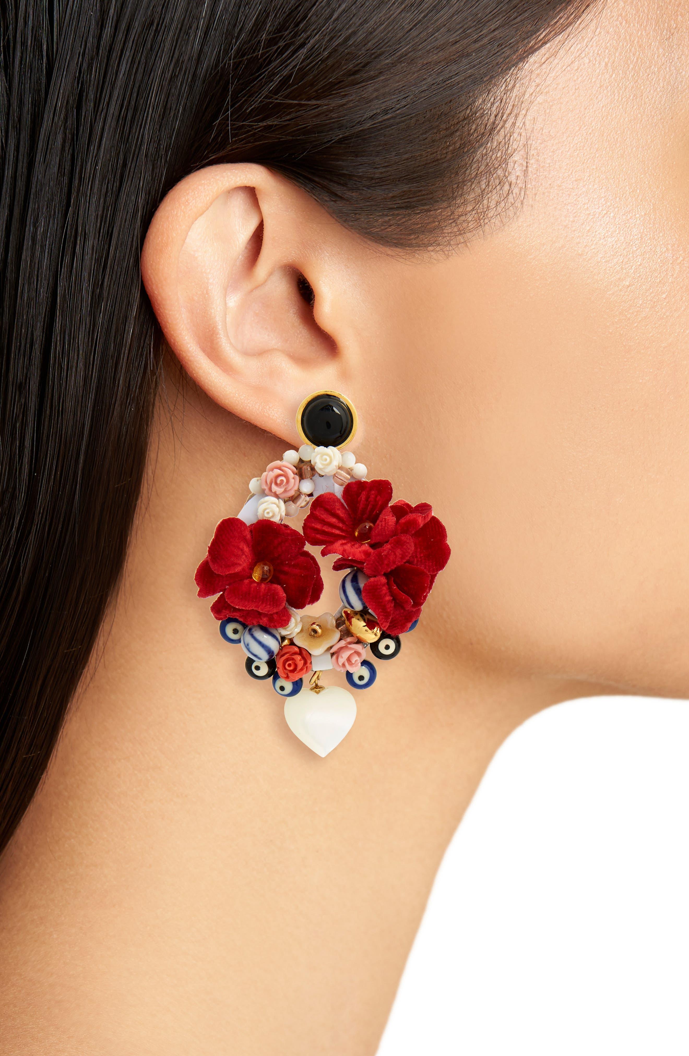 Gardenia Earrings,                             Alternate thumbnail 2, color,                             Pink Multi