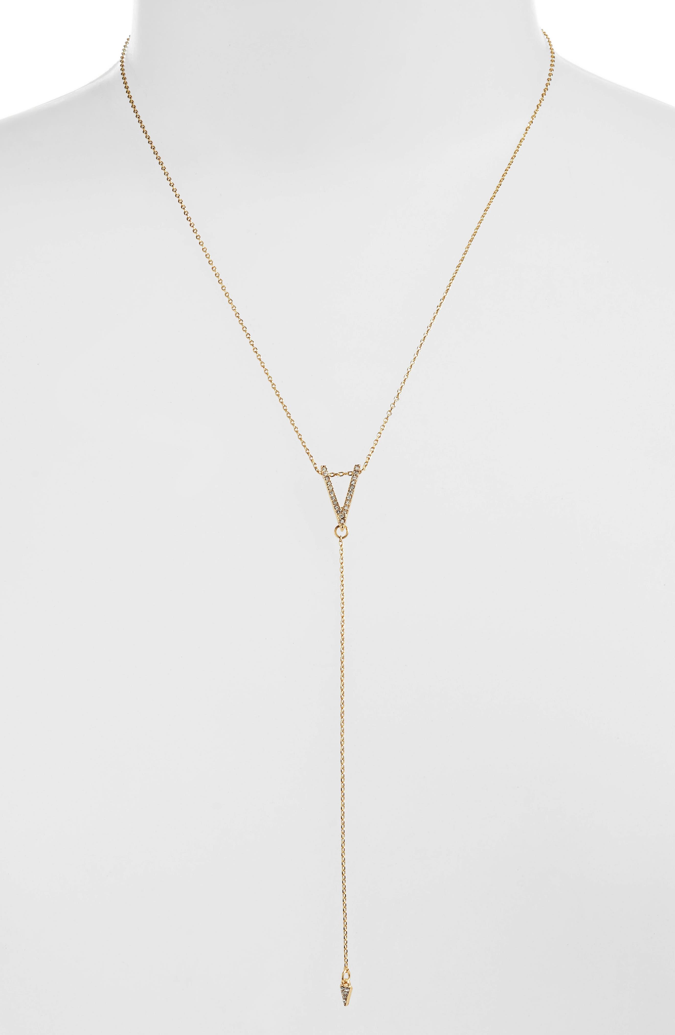 Drop Dead Y-Necklace,                         Main,                         color, Gold