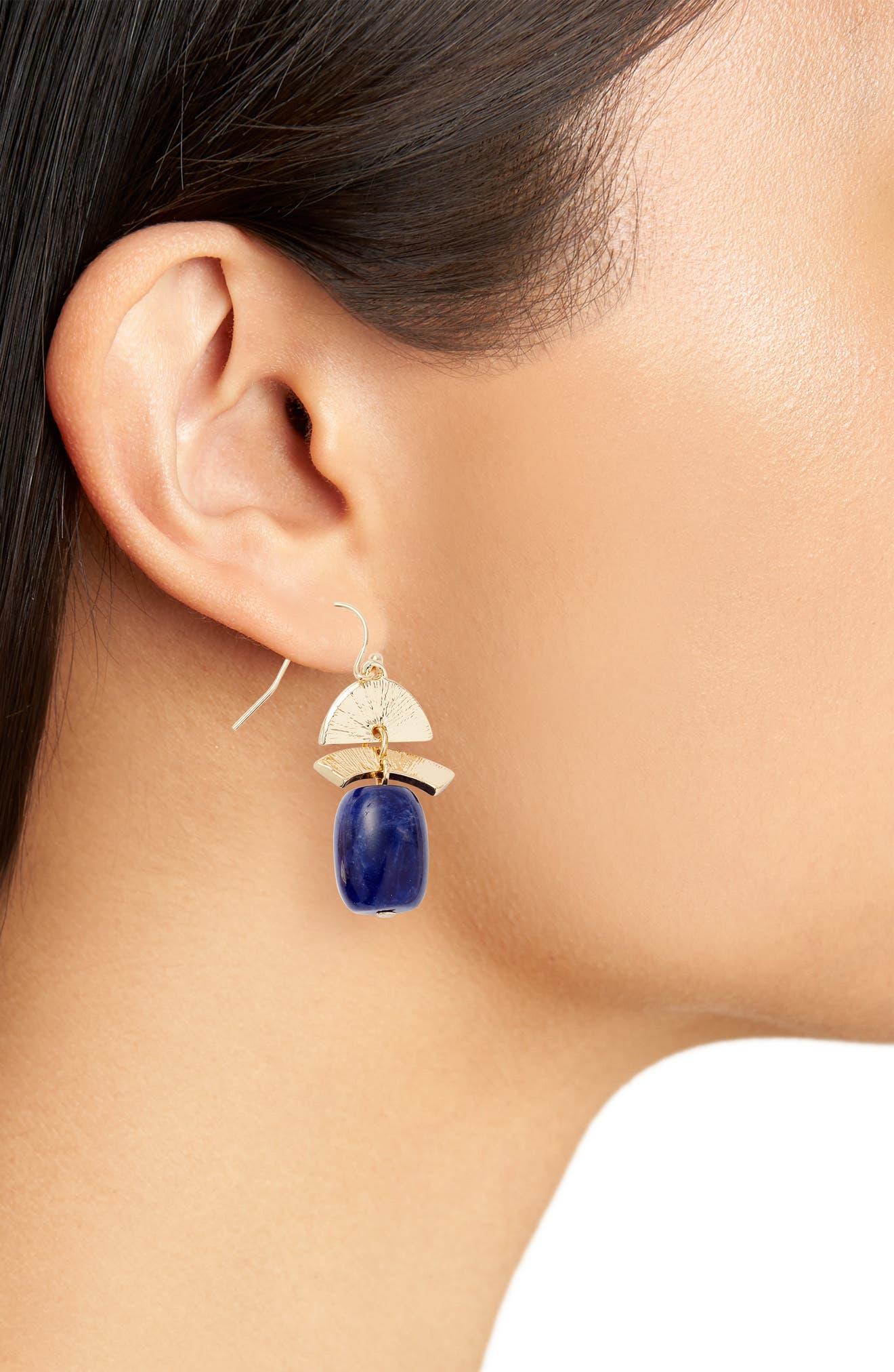Geo Drop Earrings,                             Alternate thumbnail 2, color,                             Blue- Gold