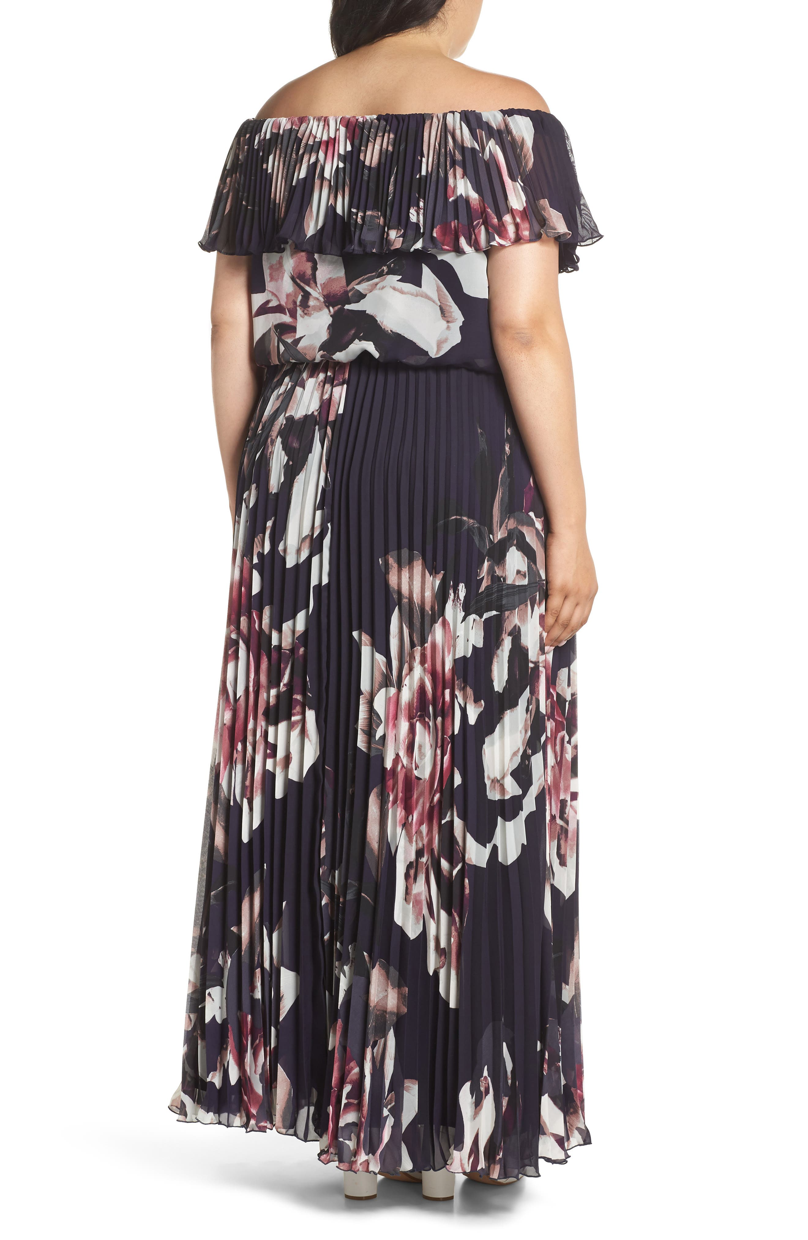 Floral Pleat Off the Shoulder Ruffle Gown,                             Alternate thumbnail 2, color,                             Navy/ Pink