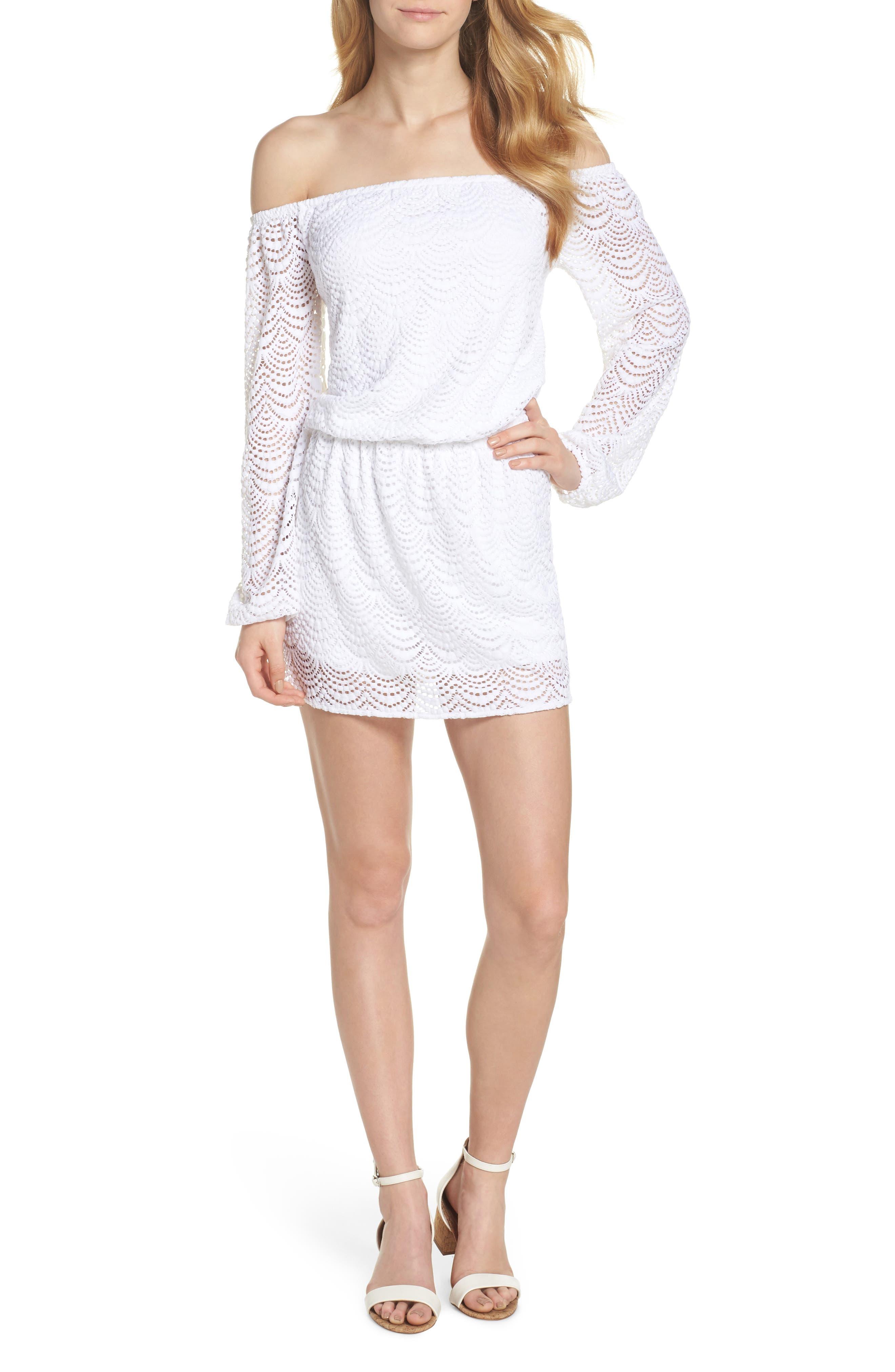 Lana Off the Shoulder Romper,                         Main,                         color, Resort White Scalloped Shell