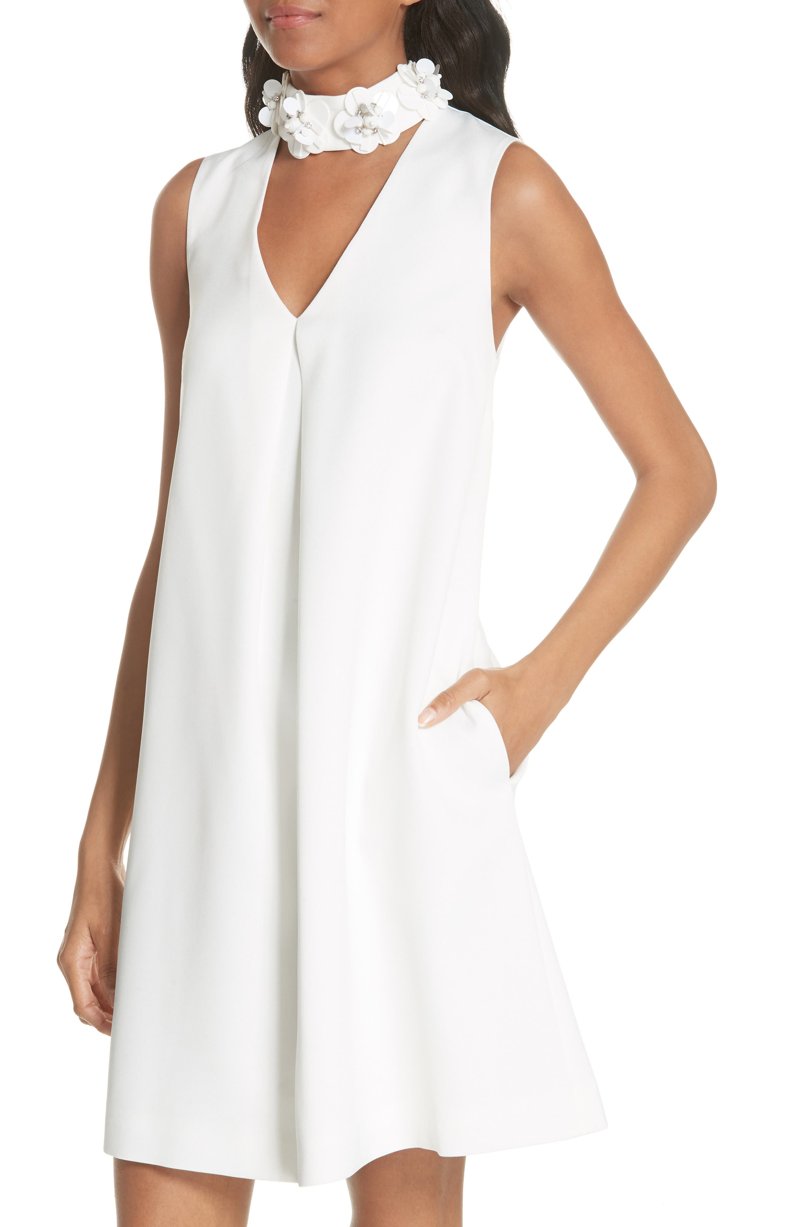 Embellished Neck A-Line Tunic Dress,                             Alternate thumbnail 4, color,                             White