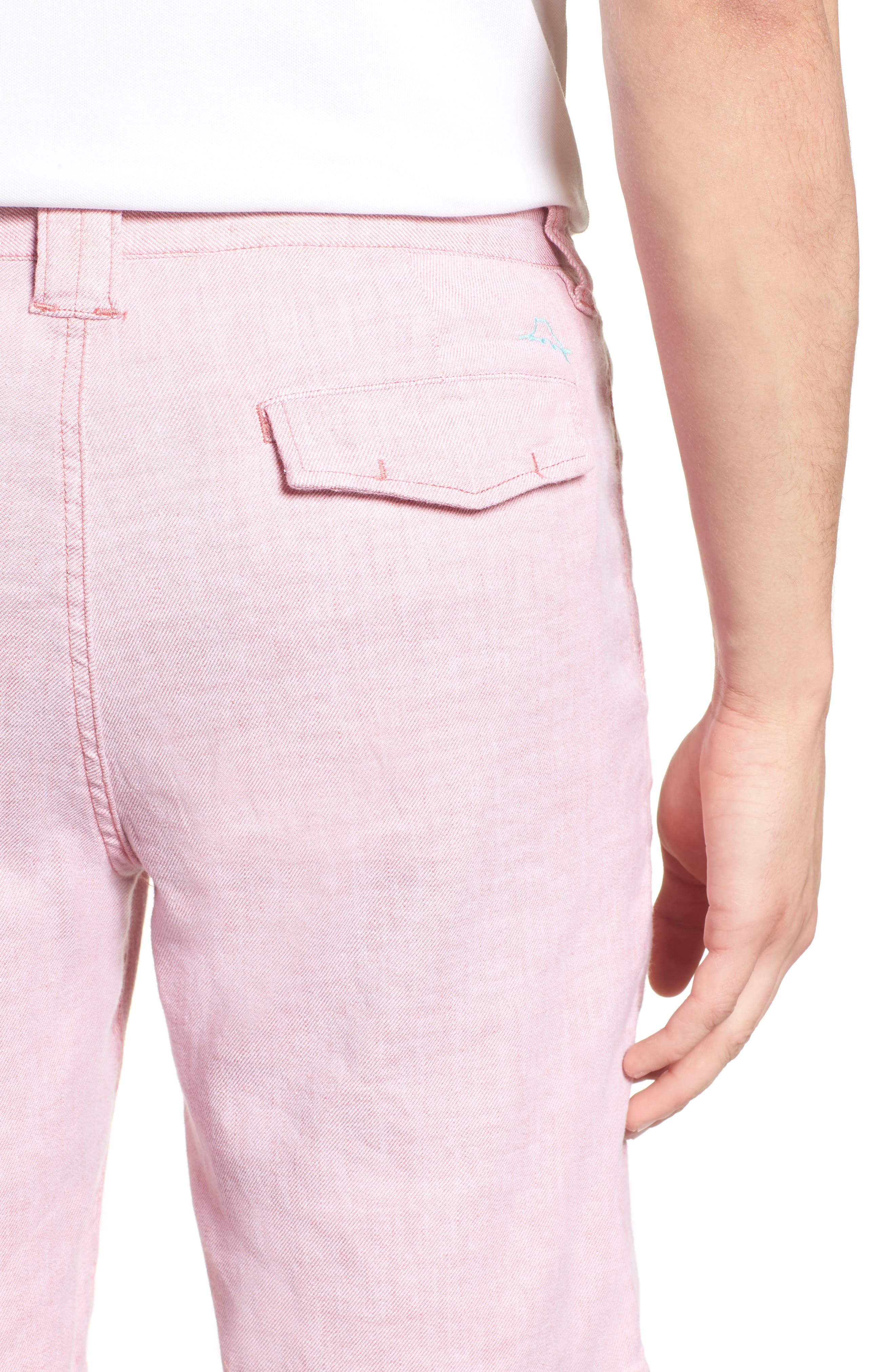 Beach Linen Blend Shorts,                             Alternate thumbnail 4, color,                             Red Sunset