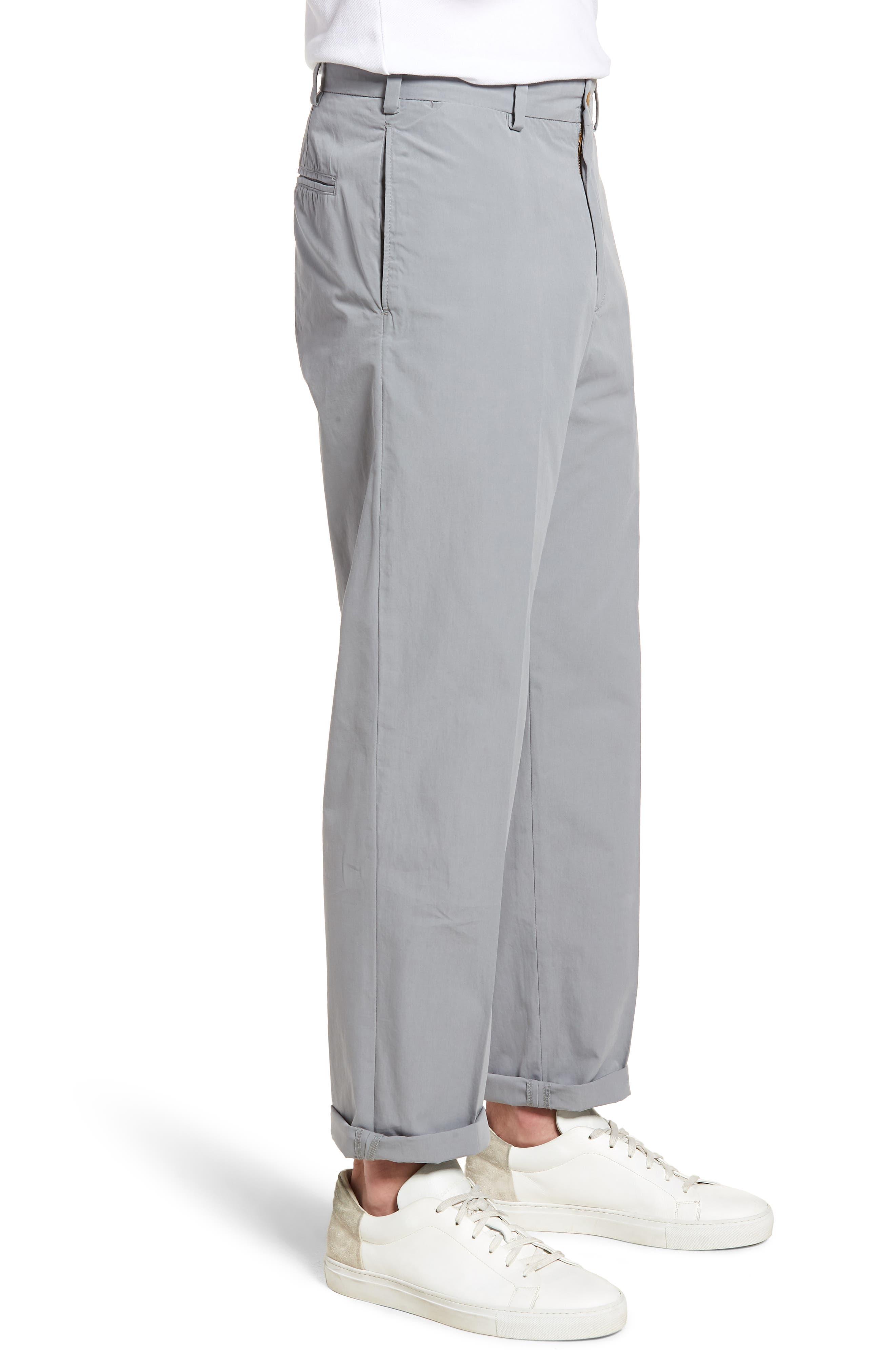 M2 Classic Fit Flat Front Tropical Cotton Poplin Pants,                             Alternate thumbnail 3, color,                             Nickel