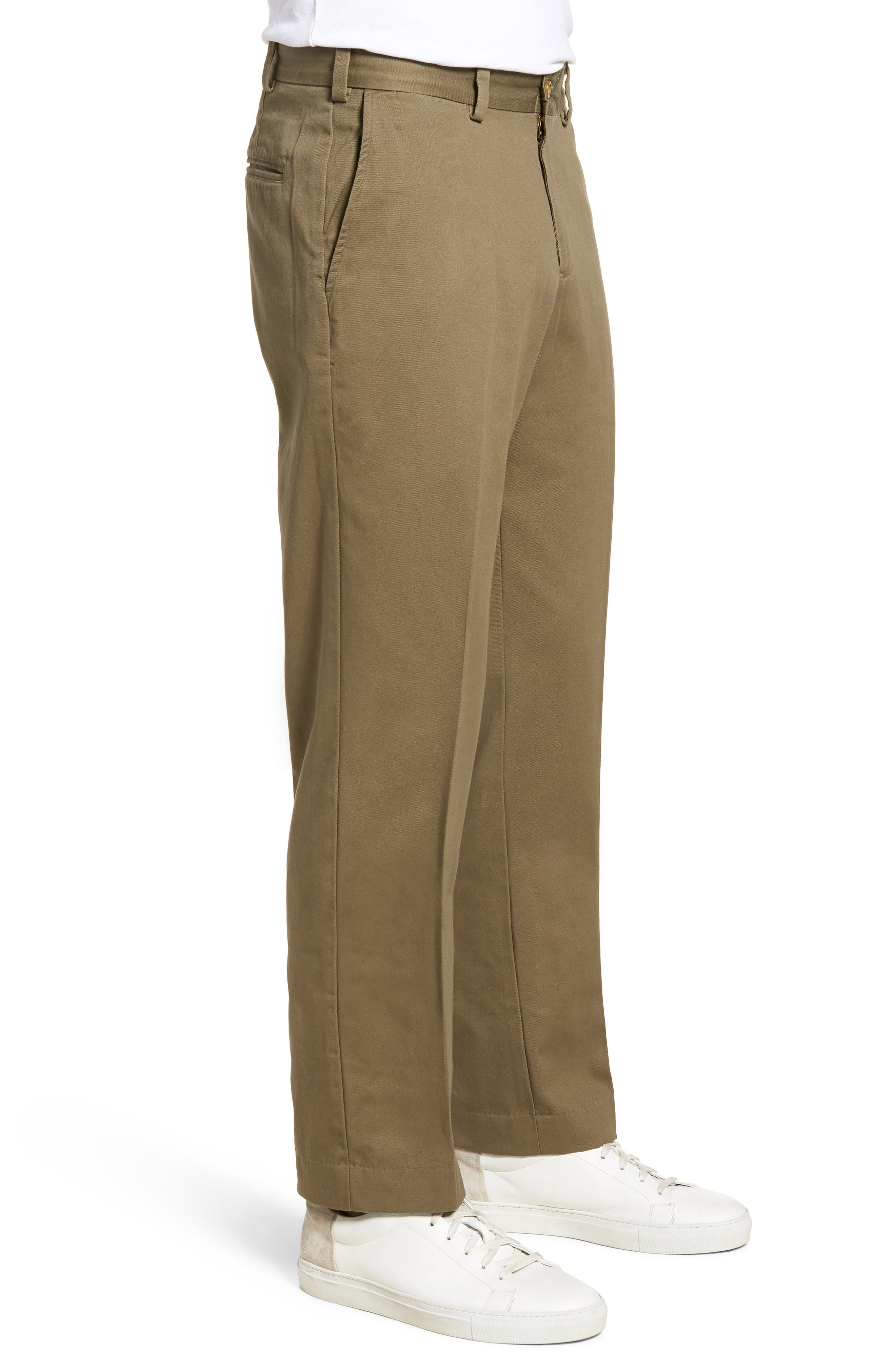 M3 Straight Fit Flat Front Vintage Twill Pants,                             Alternate thumbnail 3, color,                             Olive