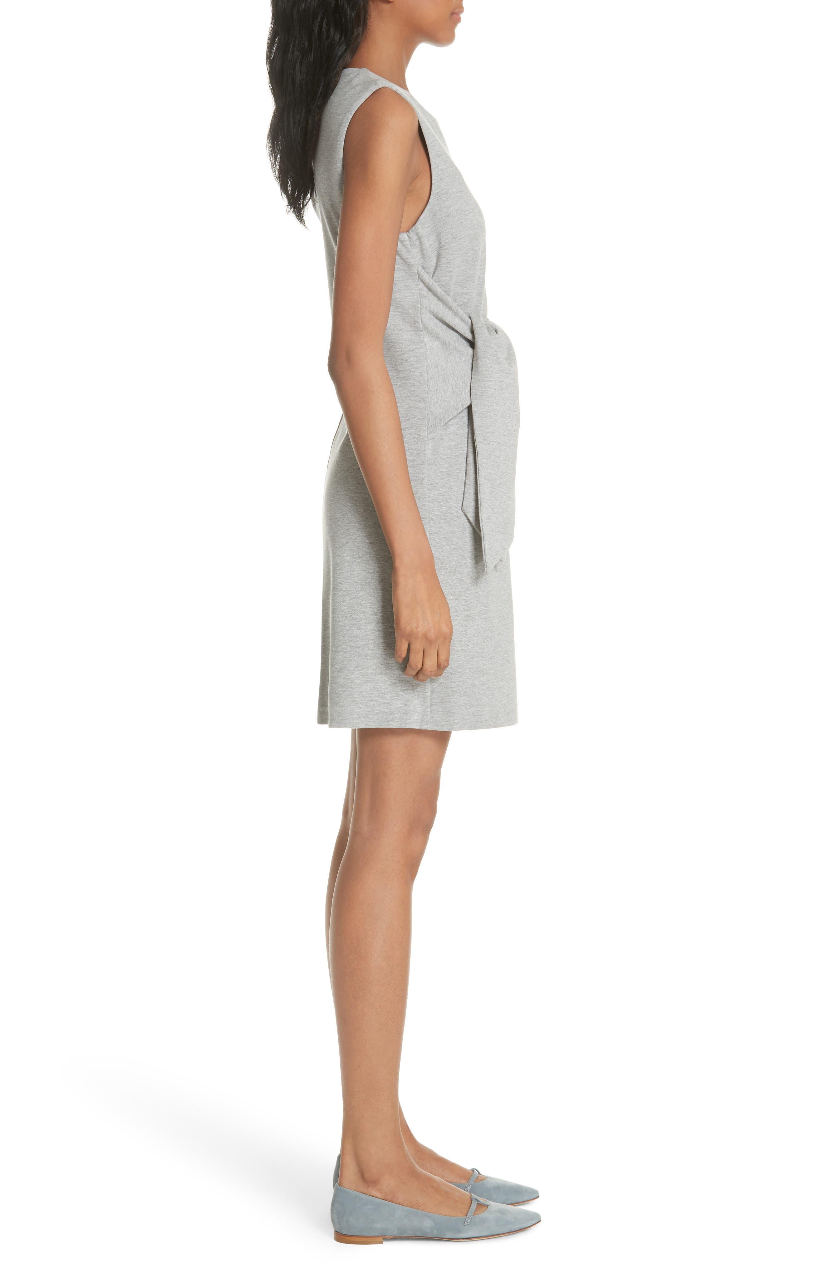 Evalina Tie Front Dress,                             Alternate thumbnail 3, color,                             Grey Marl