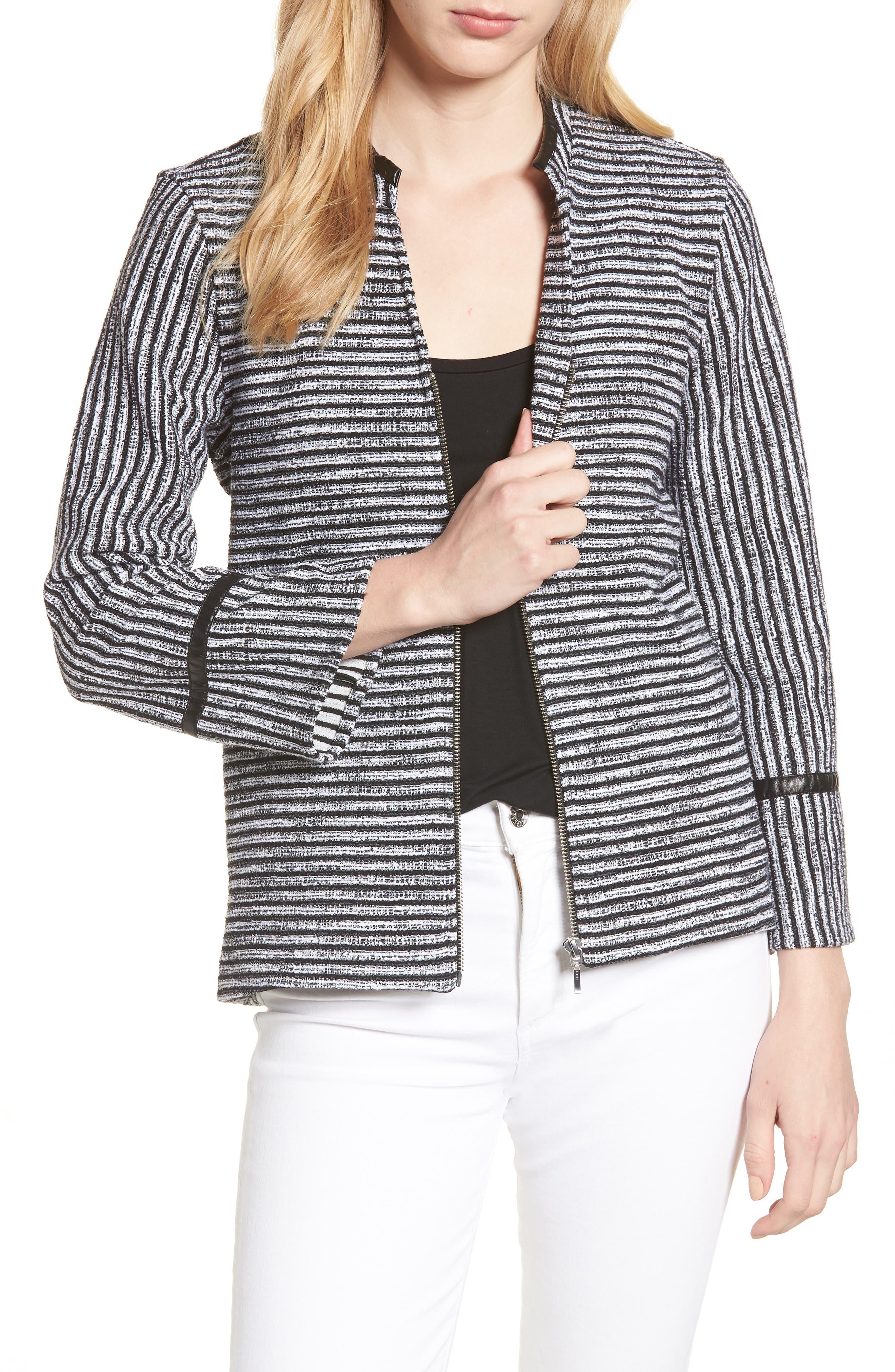 Irina Stripe Knit Jacket,                             Main thumbnail 1, color,                             Ivory/ Black