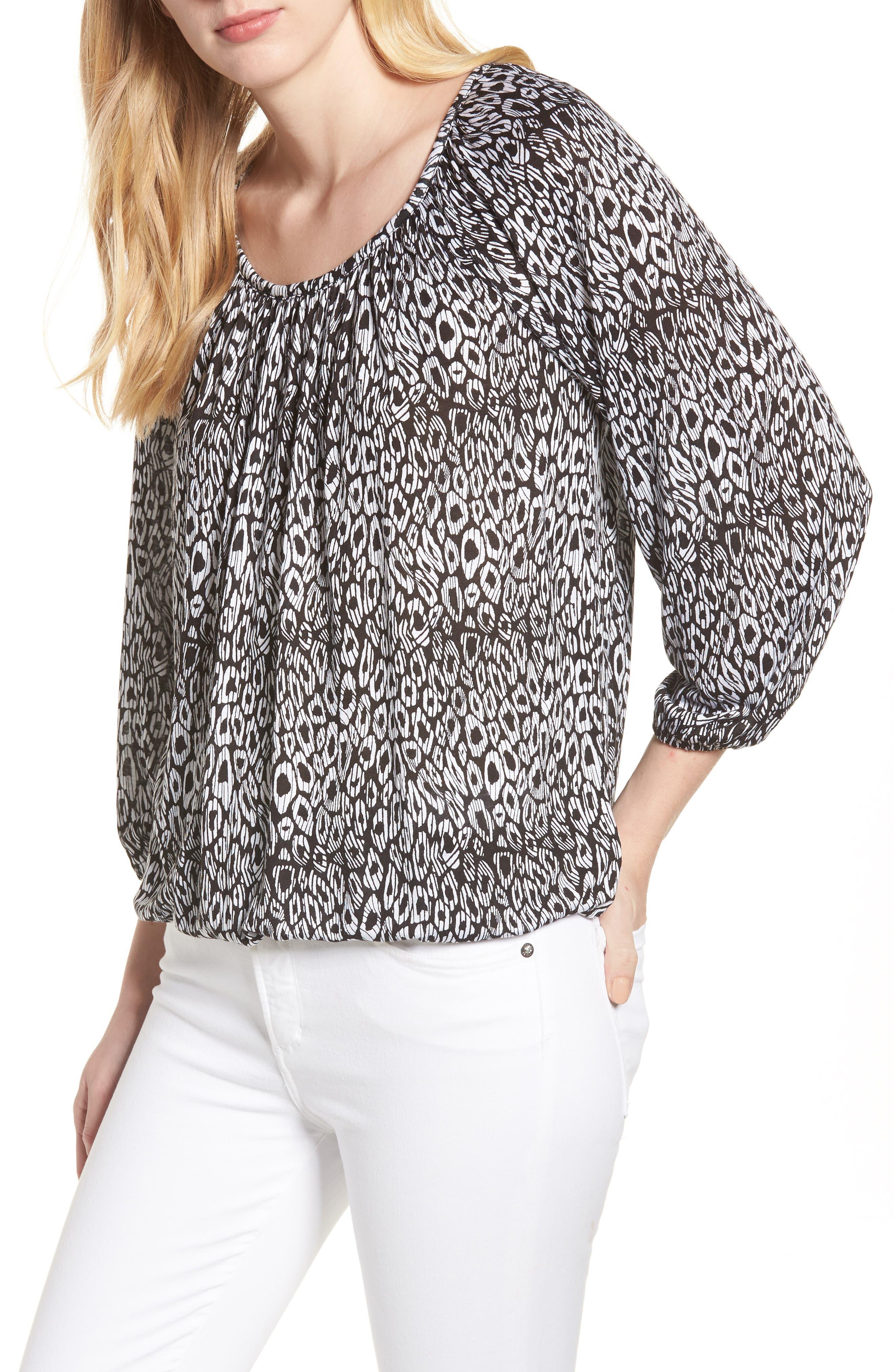 Wavy Leopard Stripe Peasant Top,                             Main thumbnail 1, color,                             Black/ White