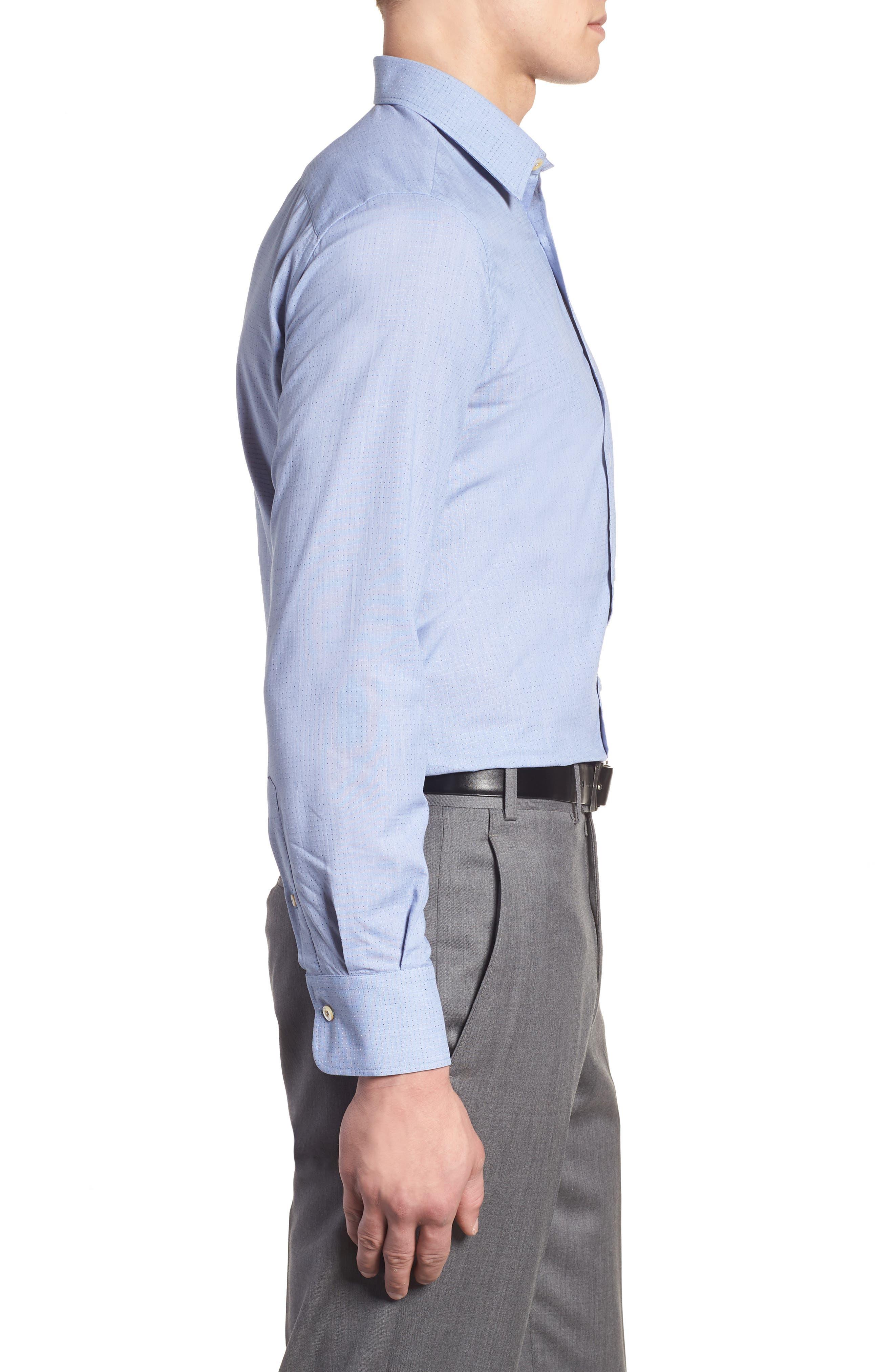 Regular Fit Dot Sport Shirt,                             Alternate thumbnail 4, color,                             Cadet Blue