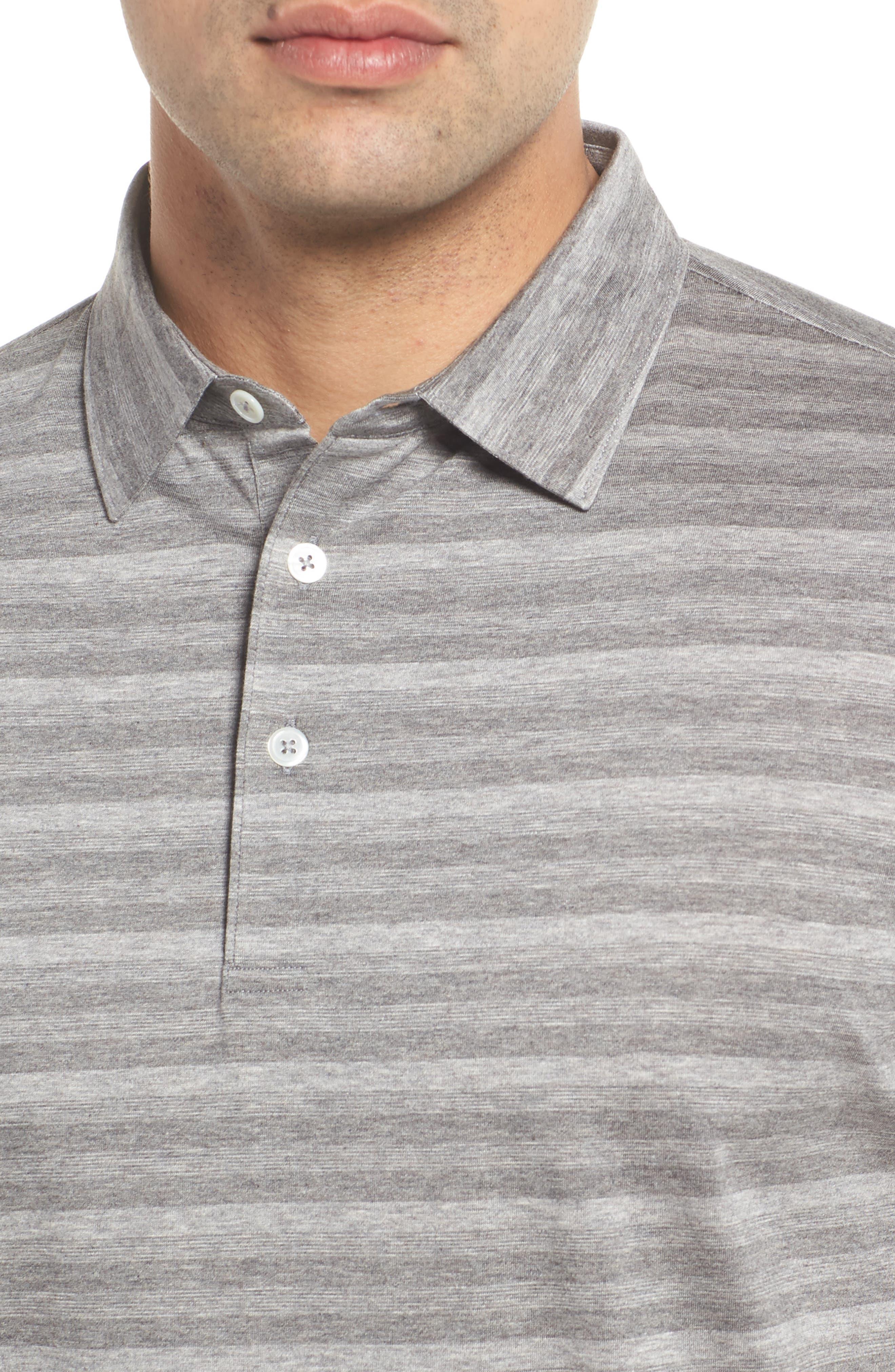 Tides Regular Fit Stripe Polo,                             Alternate thumbnail 4, color,                             Argento