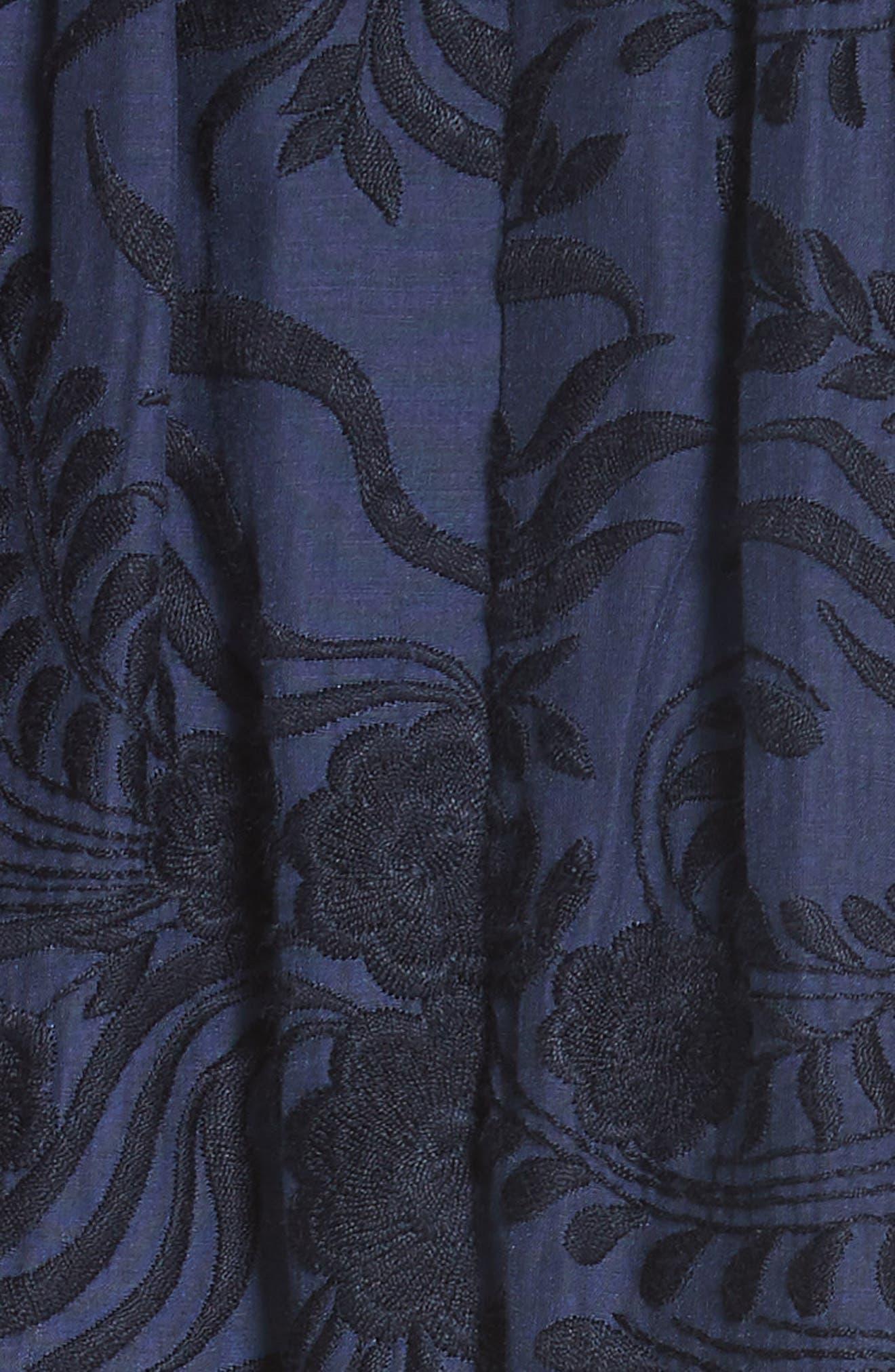 jenette cotton silk fit & flare dress,                             Alternate thumbnail 5, color,                             Rich Navy