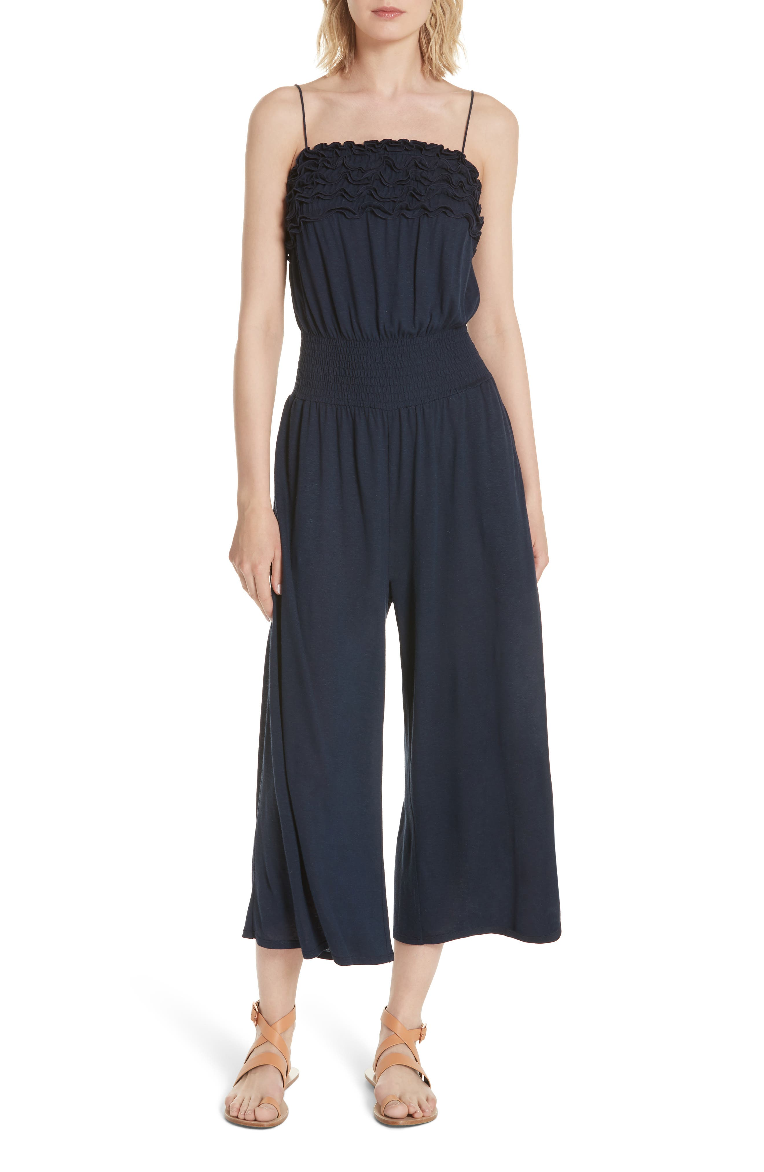 Rebecca Taylor Frill Jersey Crop Jumpsuit