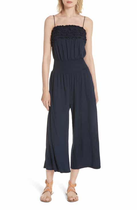 Rebecca Taylor Frill Jersey Crop Jumpsuit