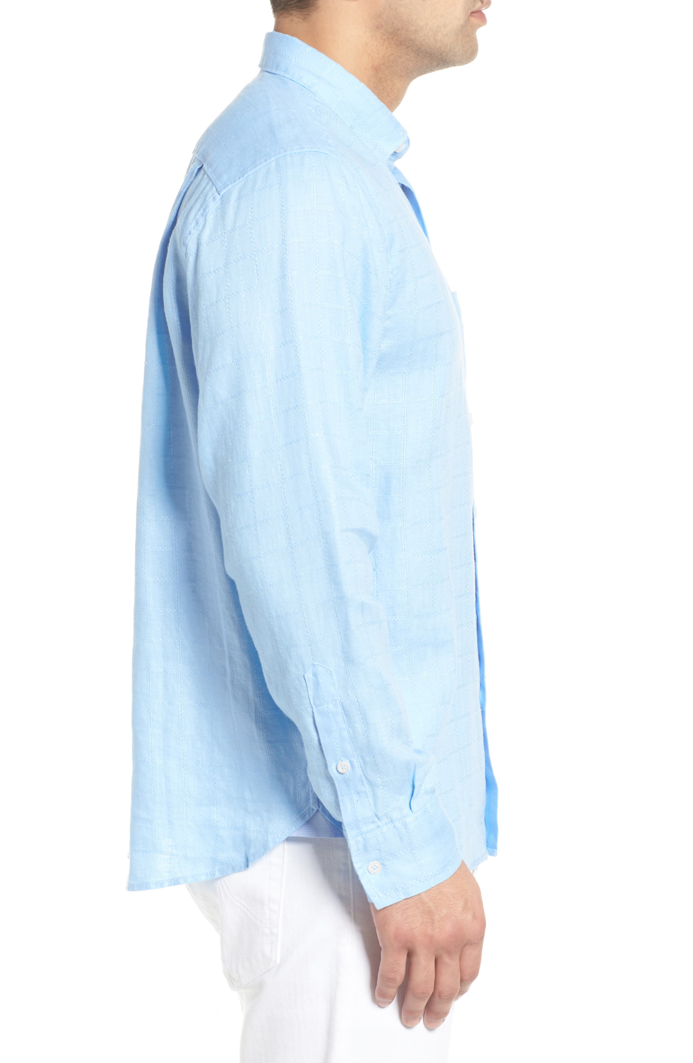 Costa Sera Linen Sport Shirt,                             Alternate thumbnail 4, color,                             Light Sky