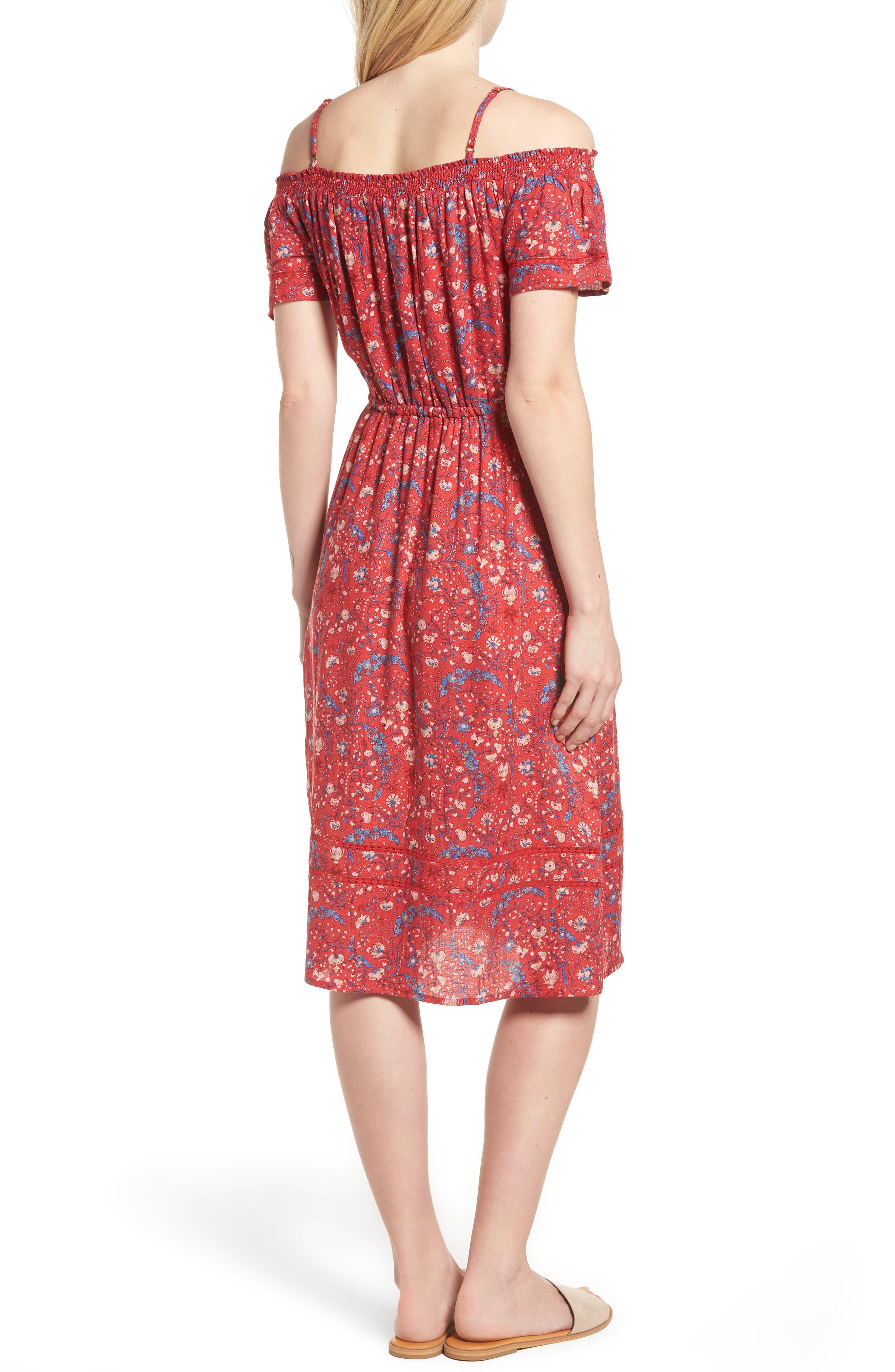 Off the Shoulder Floral Dress,                             Alternate thumbnail 2, color,                             Red Multi