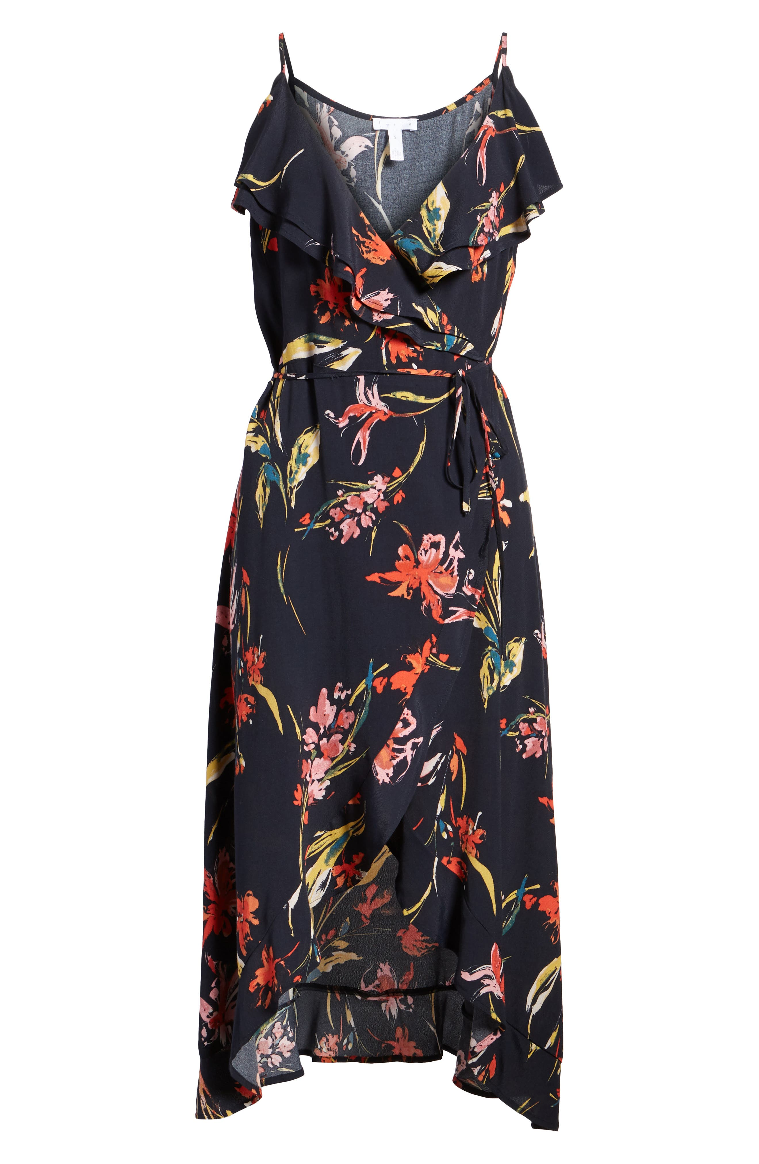 Flounce Wrap Midi Dress,                             Alternate thumbnail 7, color,                             Navy Night Dancing Floral