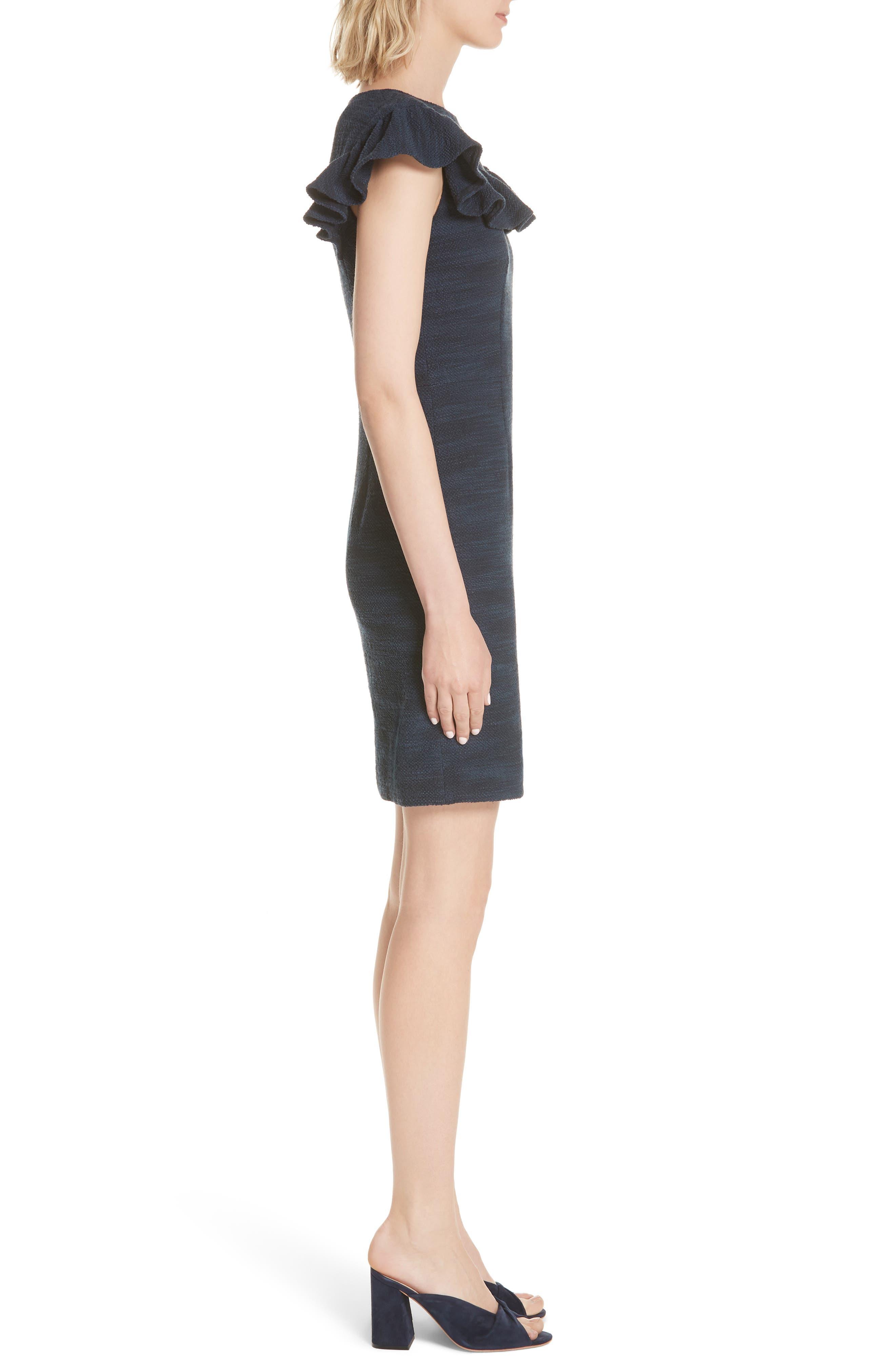 Ruffle Tweed Dress,                             Alternate thumbnail 3, color,                             Navy Combo