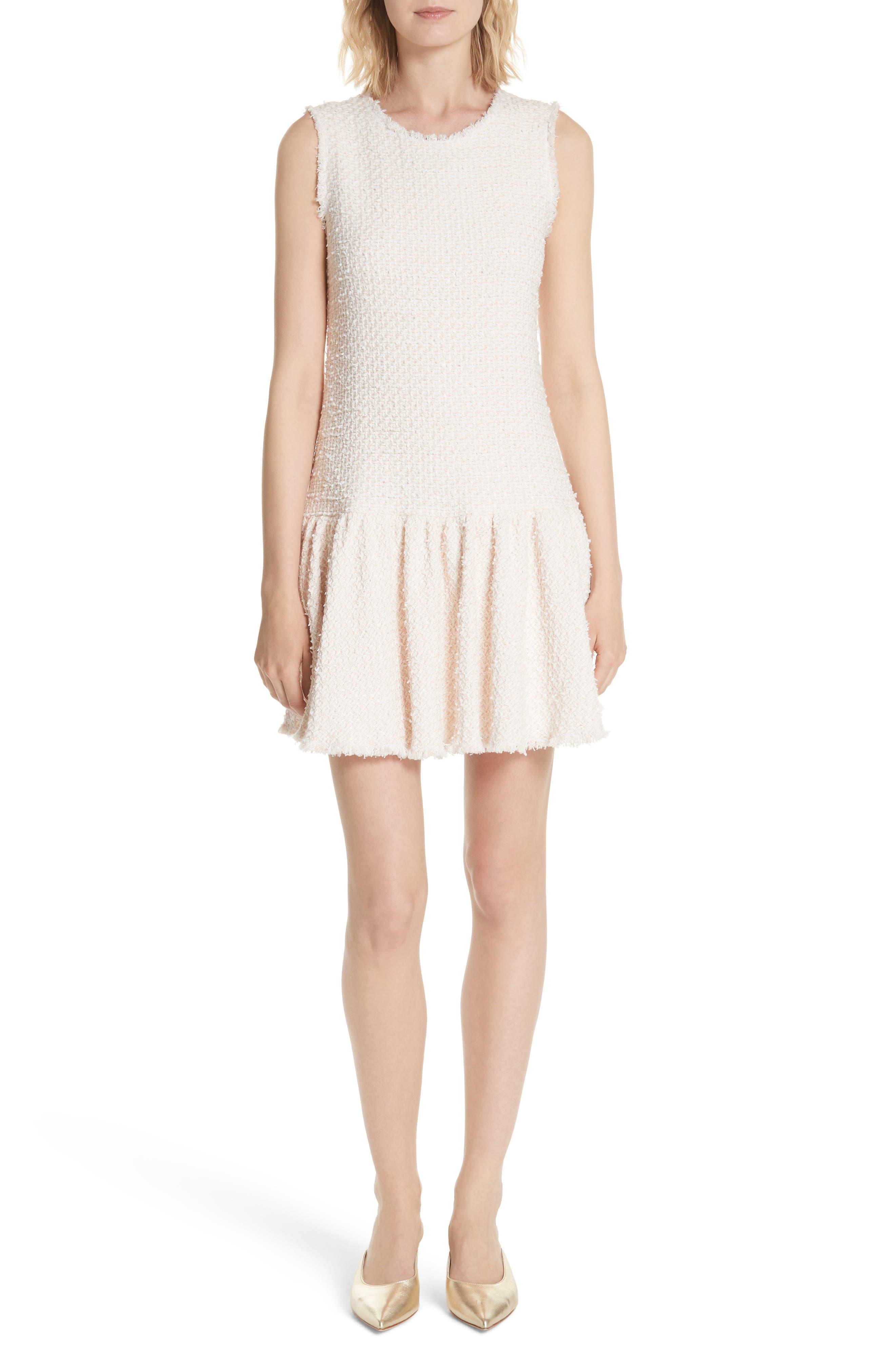 Drop Waist Tweed Dress,                             Main thumbnail 1, color,                             Powder Pink