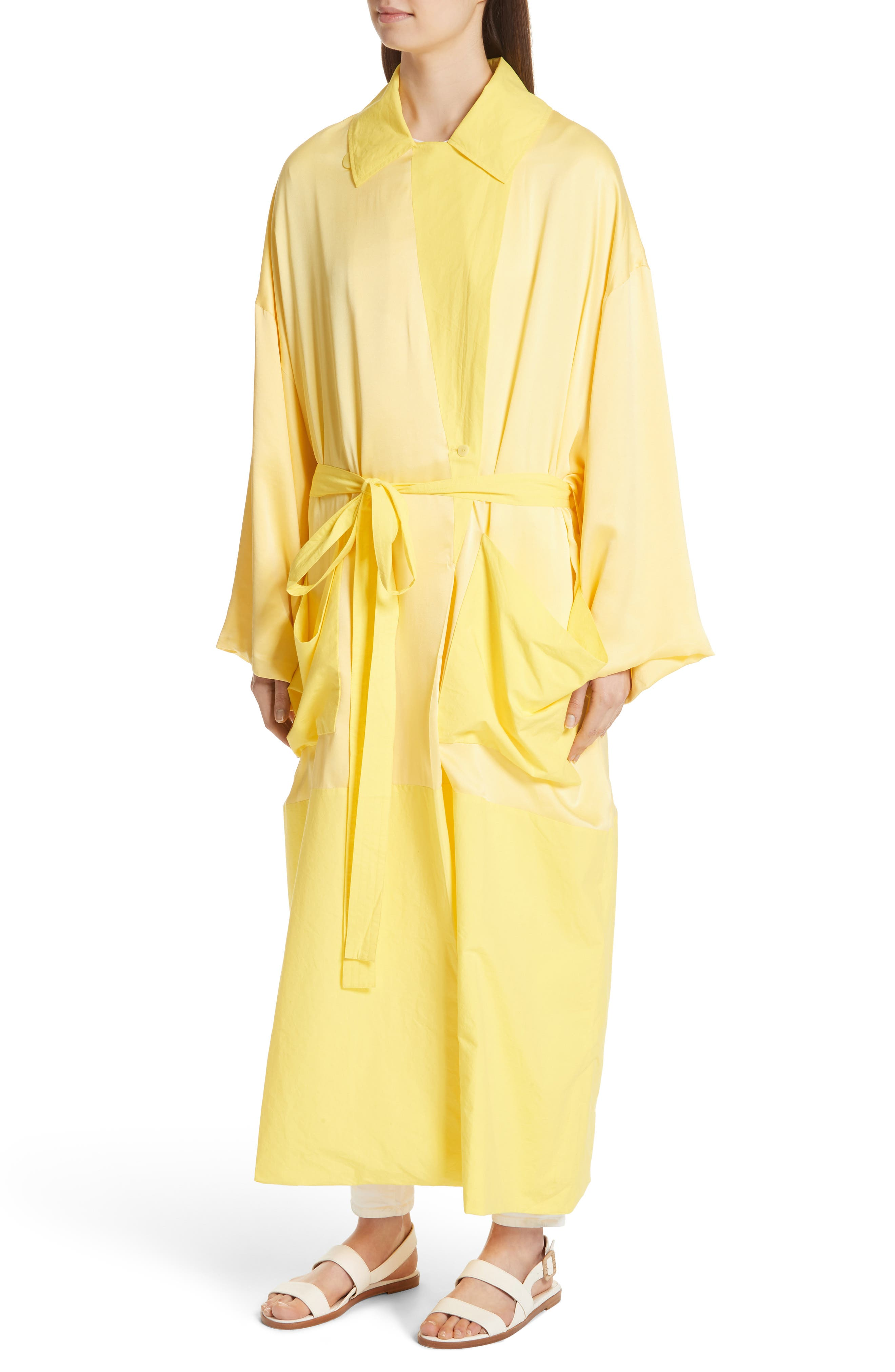 Soft Silk Wrap Coat,                             Alternate thumbnail 4, color,                             Buttercup