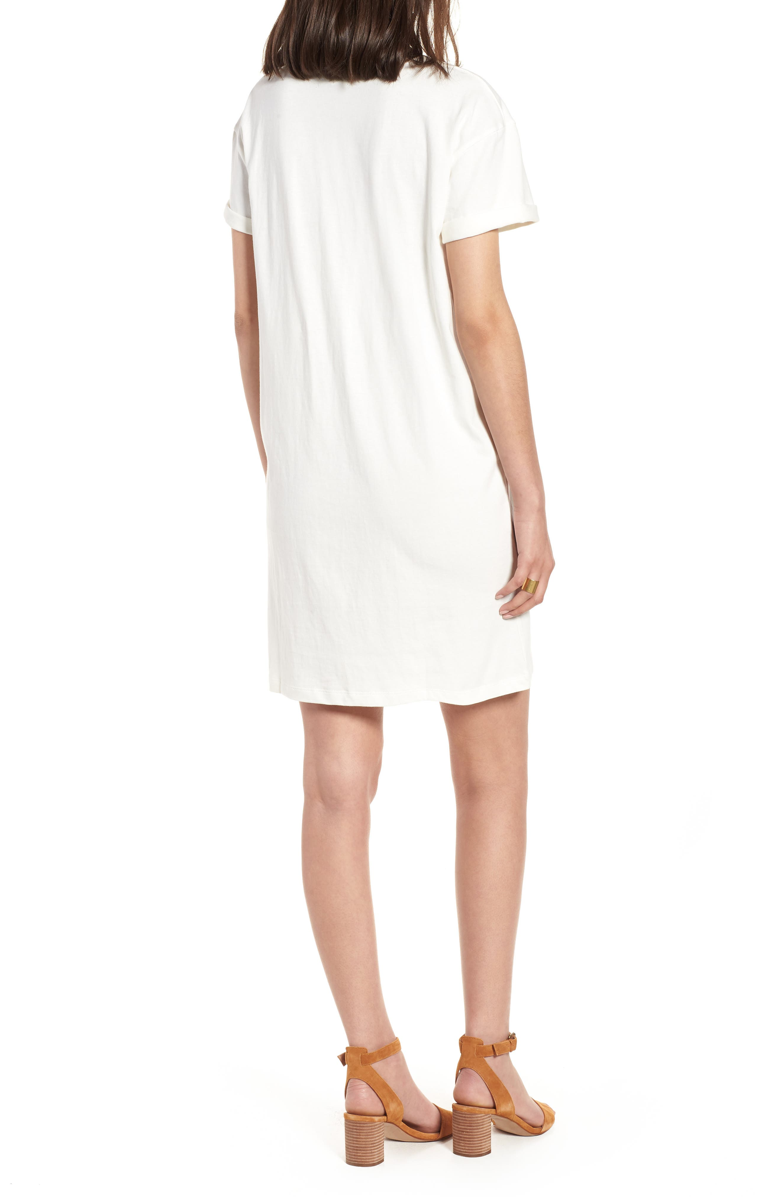 Pocket T-Shirt Dress,                             Alternate thumbnail 2, color,                             Bright Ivory