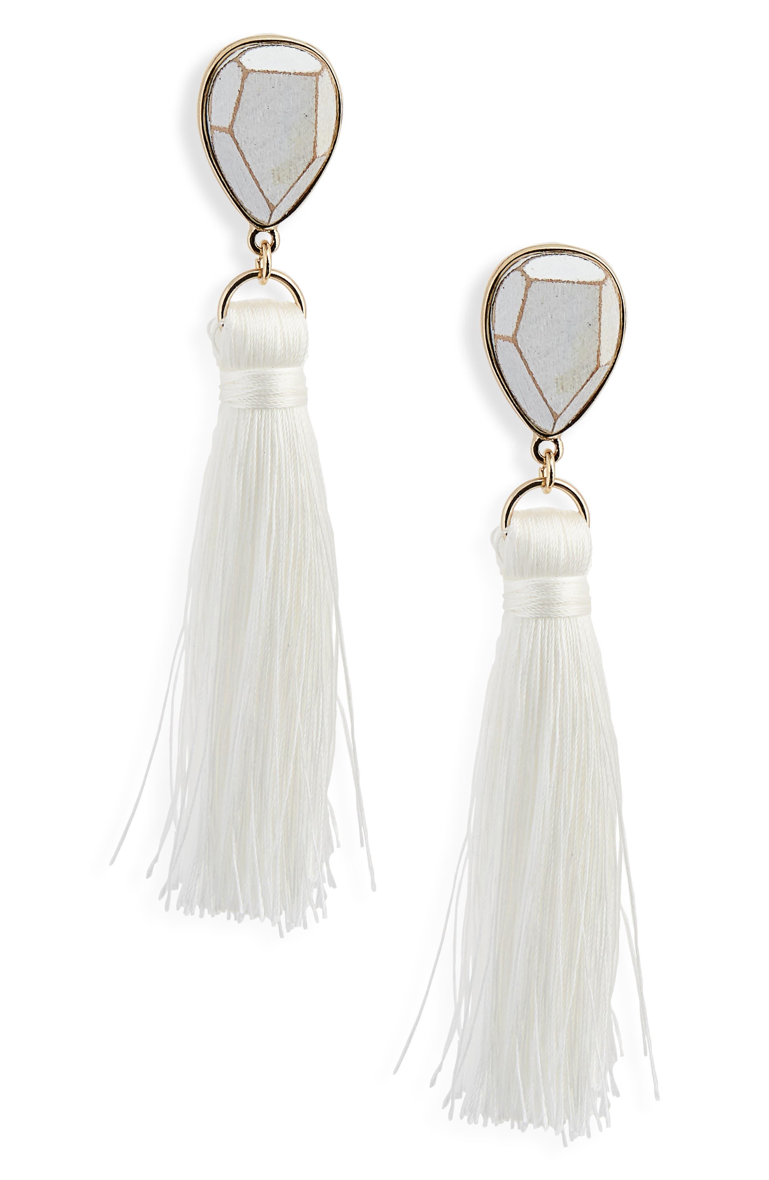Wood Tassel Drop Earrings,                             Main thumbnail 1, color,                             White