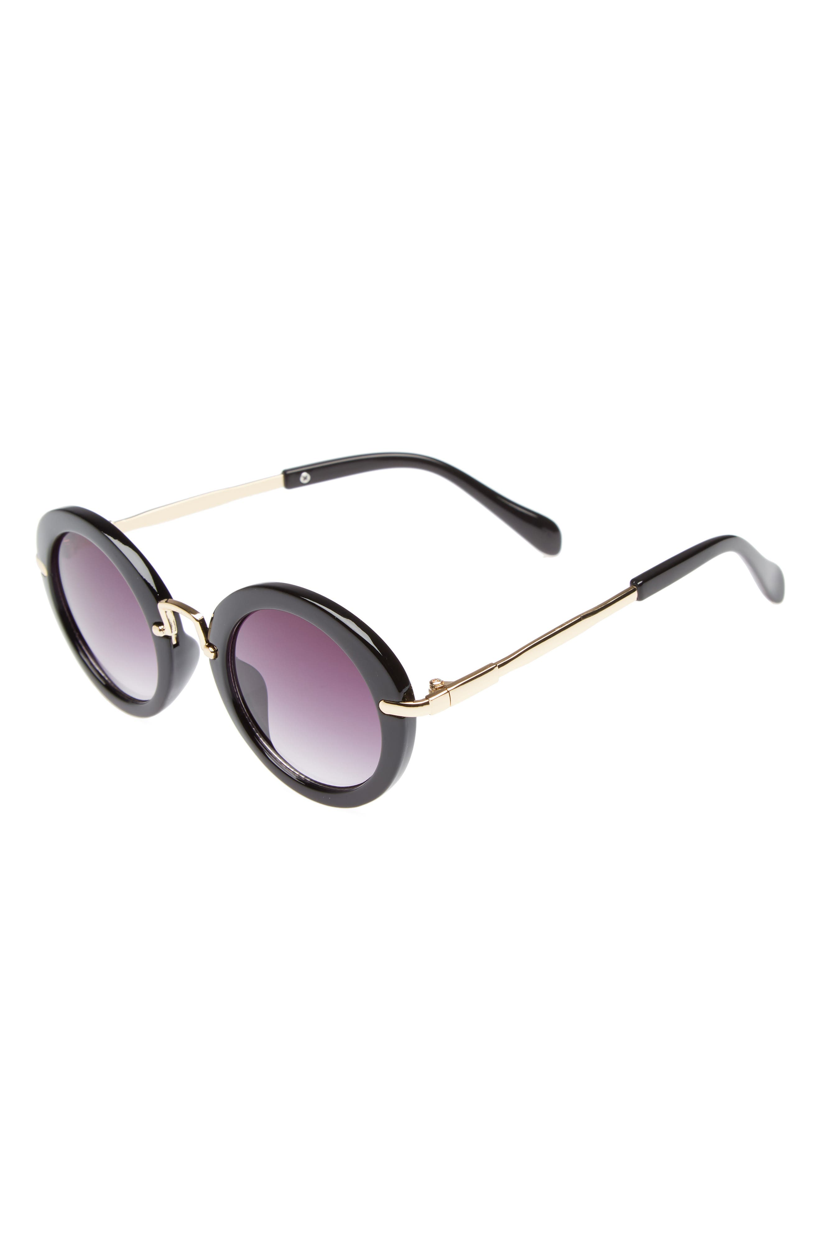 Round Sunglasses,                             Main thumbnail 1, color,                             Black/ Gold