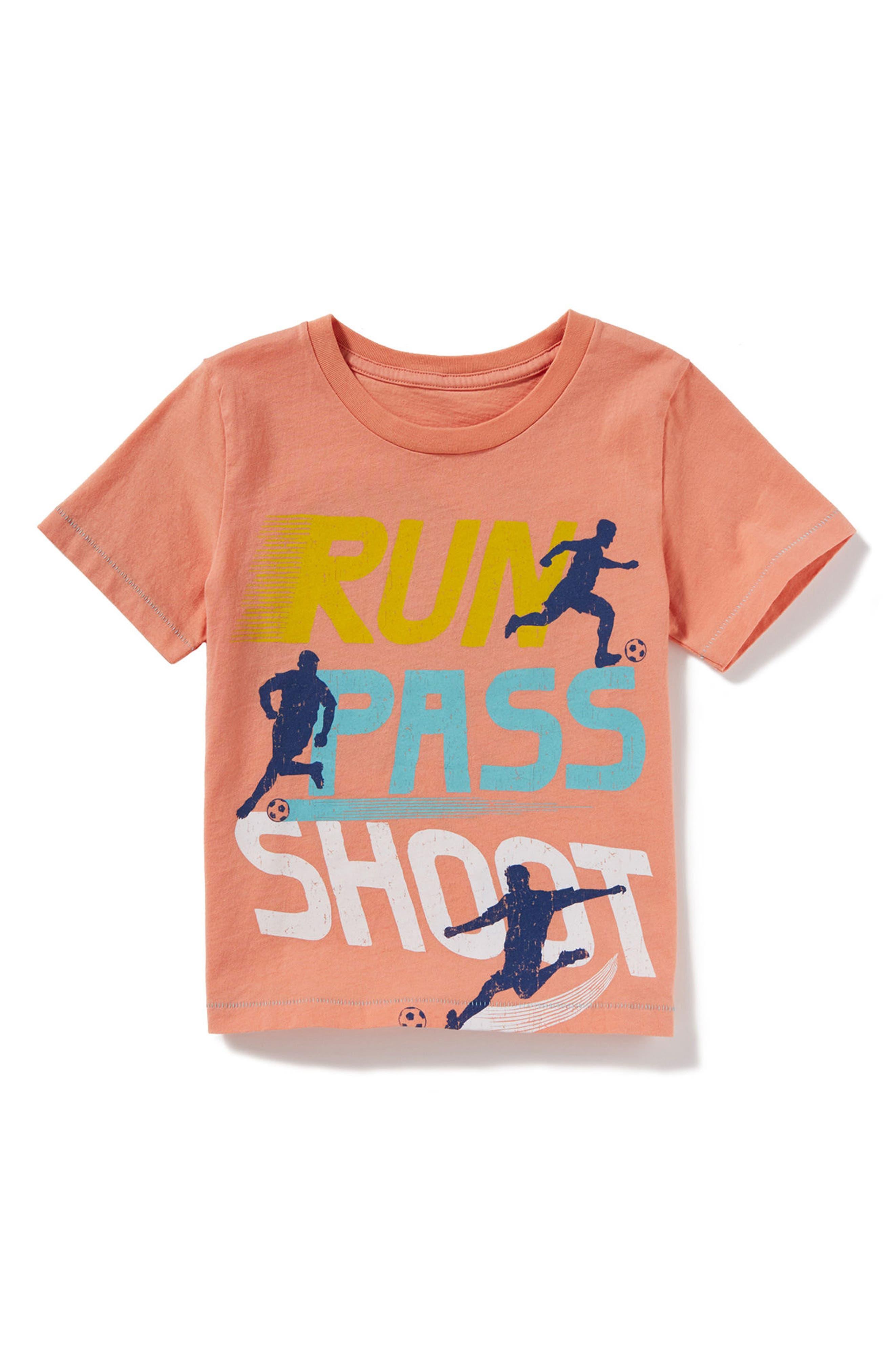 Run Pass Shoot Graphic T-Shirt,                             Main thumbnail 1, color,                             Peach