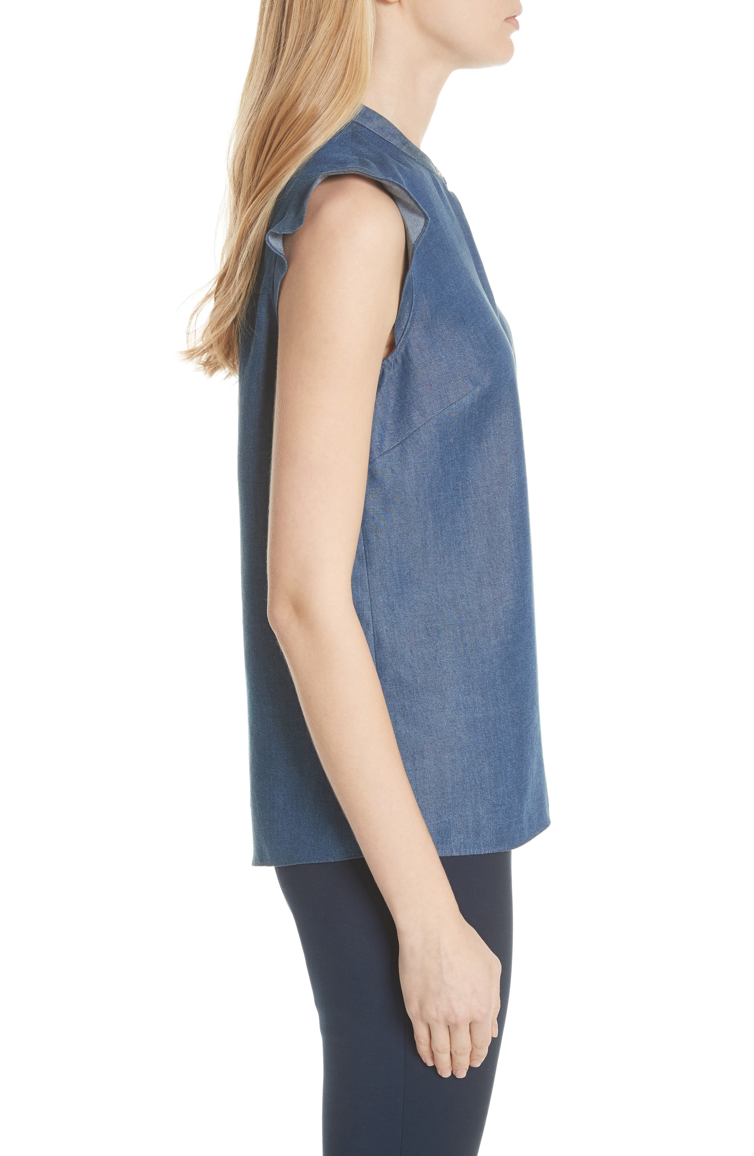 Colour by Numbers Denim Top,                             Alternate thumbnail 3, color,                             Mid-Wash