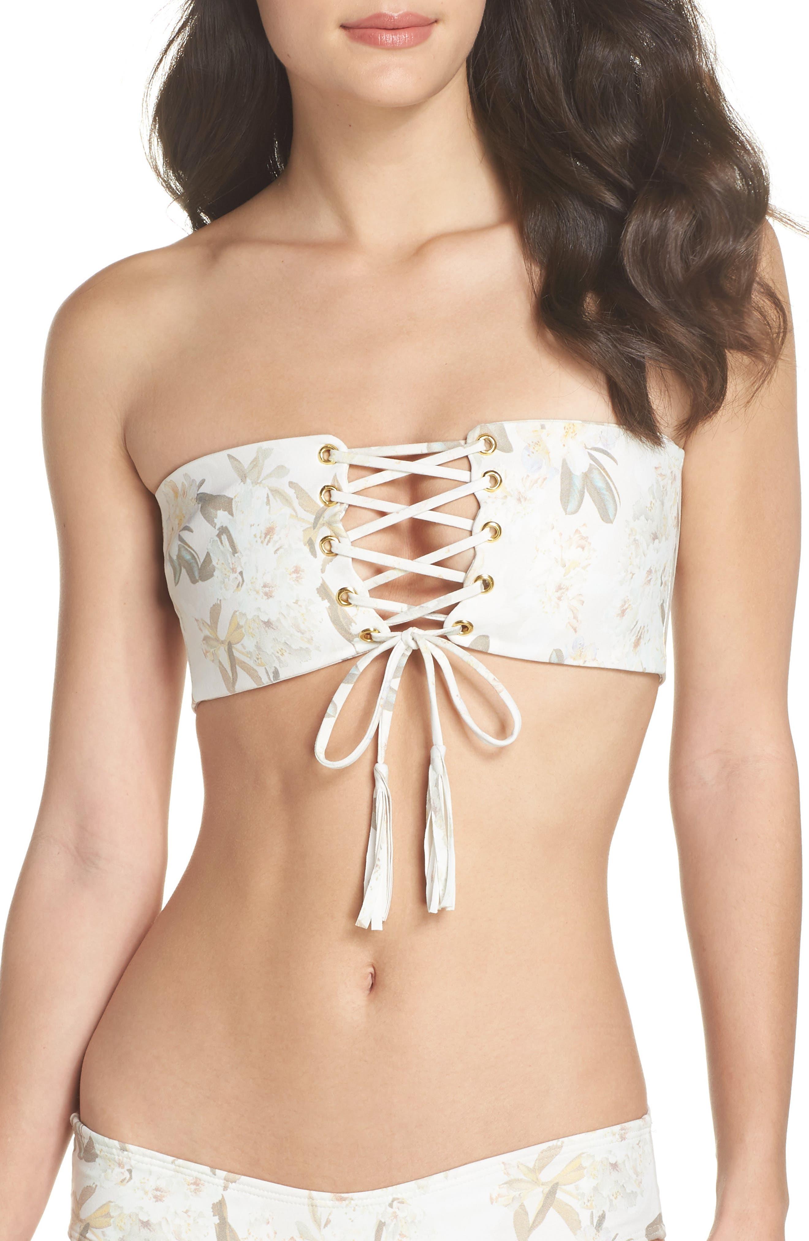 Floral Corset Bikini Top,                             Main thumbnail 1, color,                             Ete Floral White