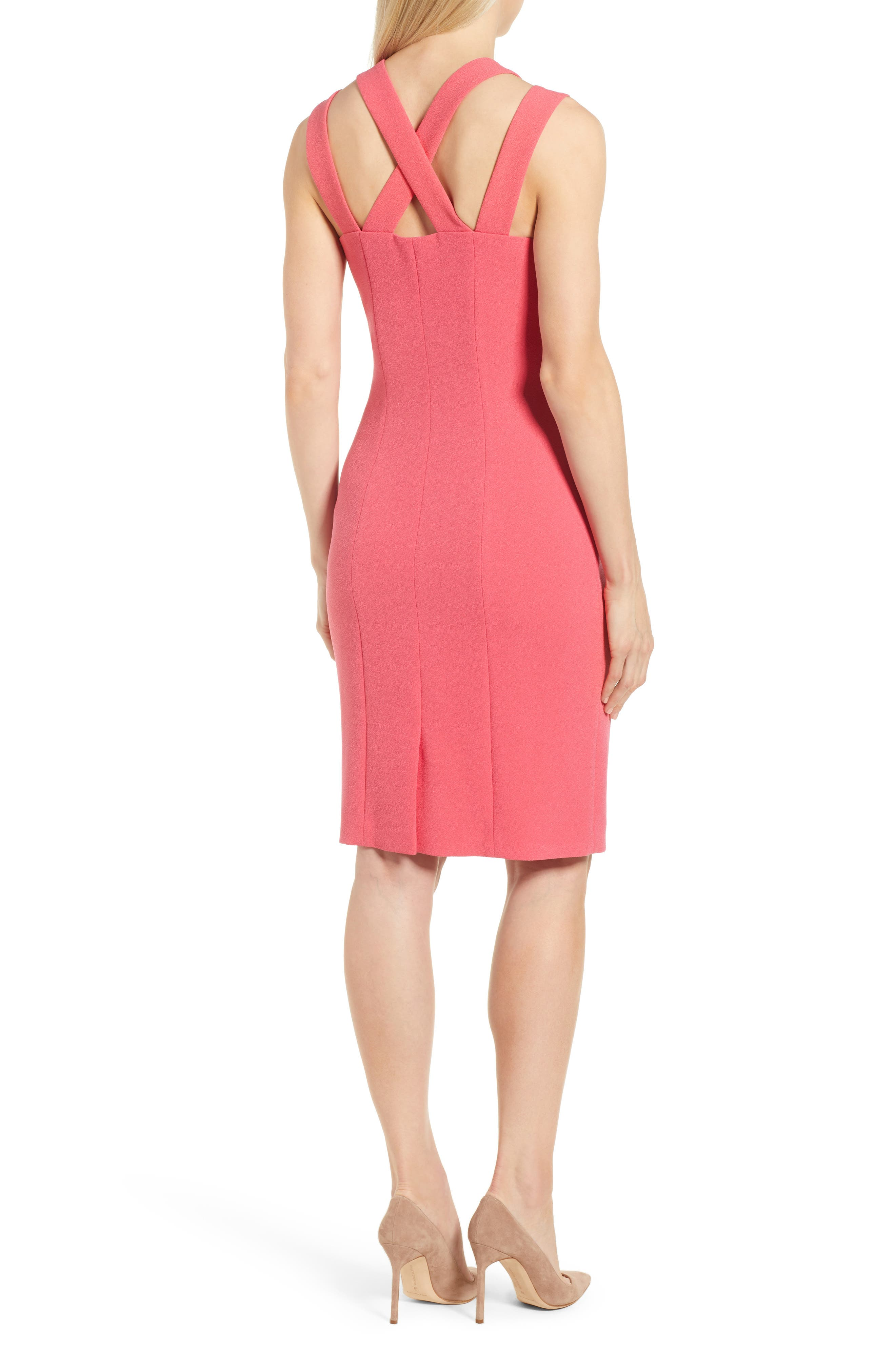 Daphima Compact Crepe Sheath Dress,                             Alternate thumbnail 2, color,                             Lychee Pink