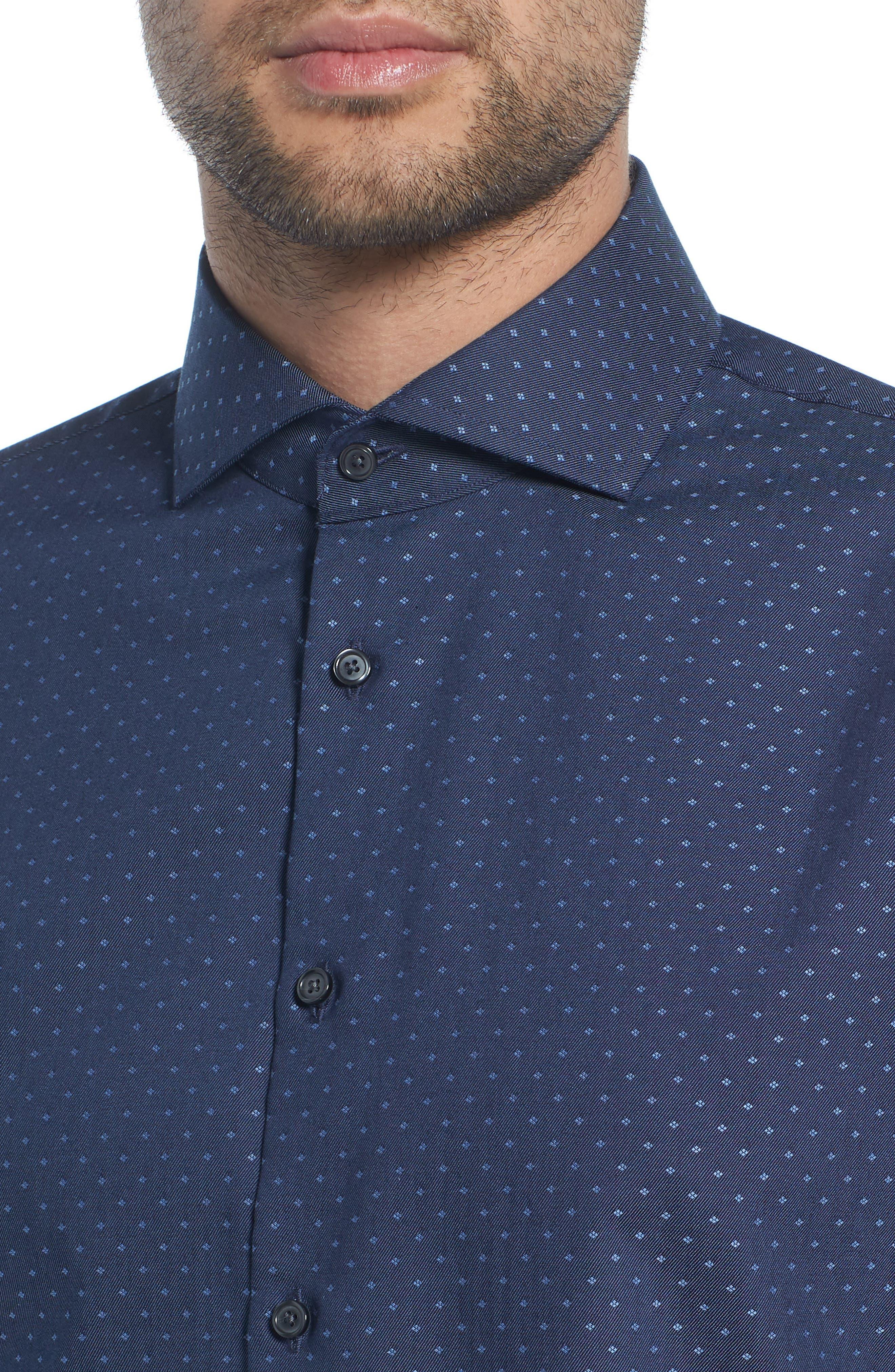 Extra Trim Fit Dot Dress Shirt,                             Alternate thumbnail 2, color,                             Navy Medieval