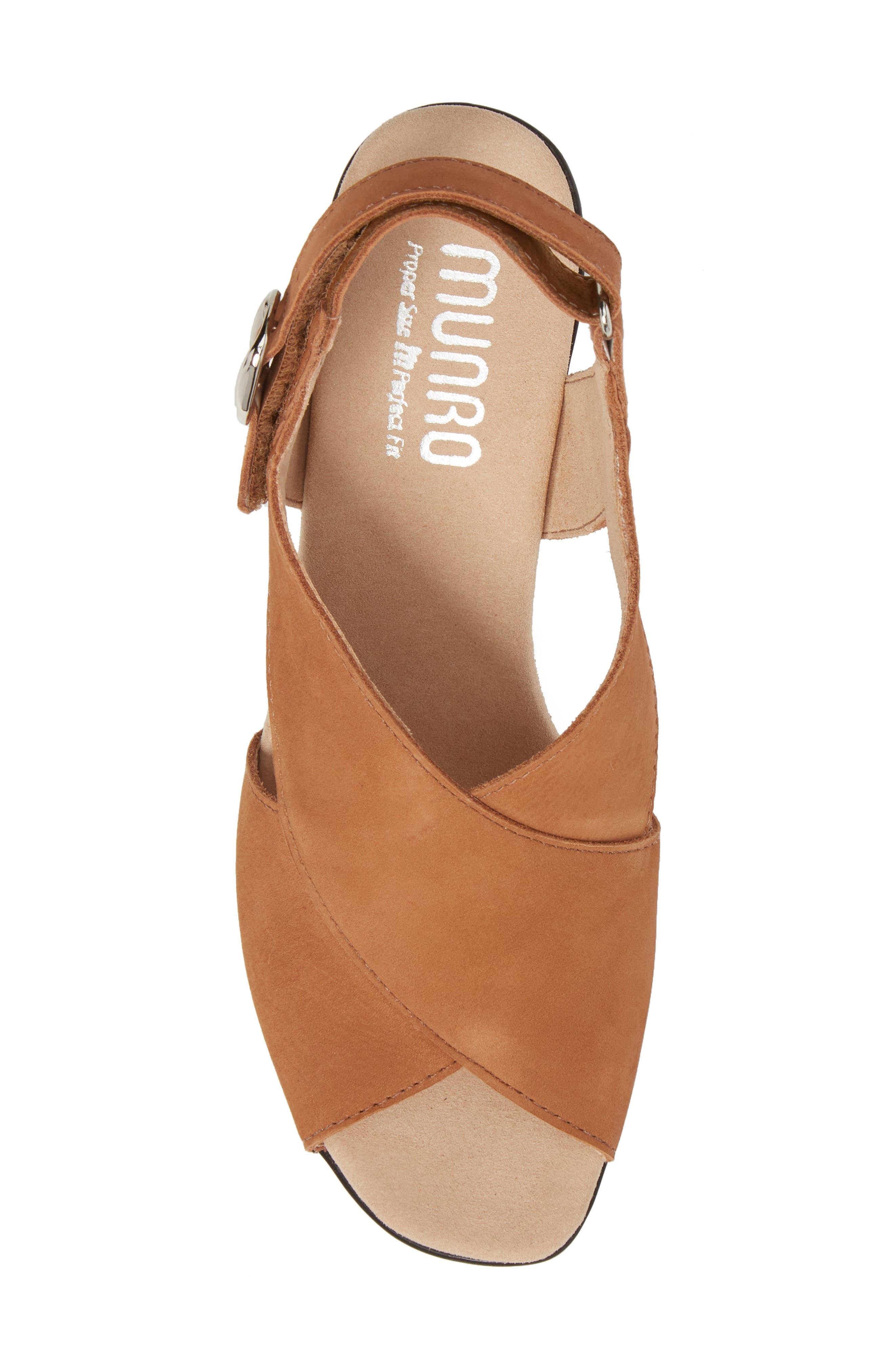 Laine Block Heel Sandal,                             Alternate thumbnail 5, color,                             Brown Nubuck Leather