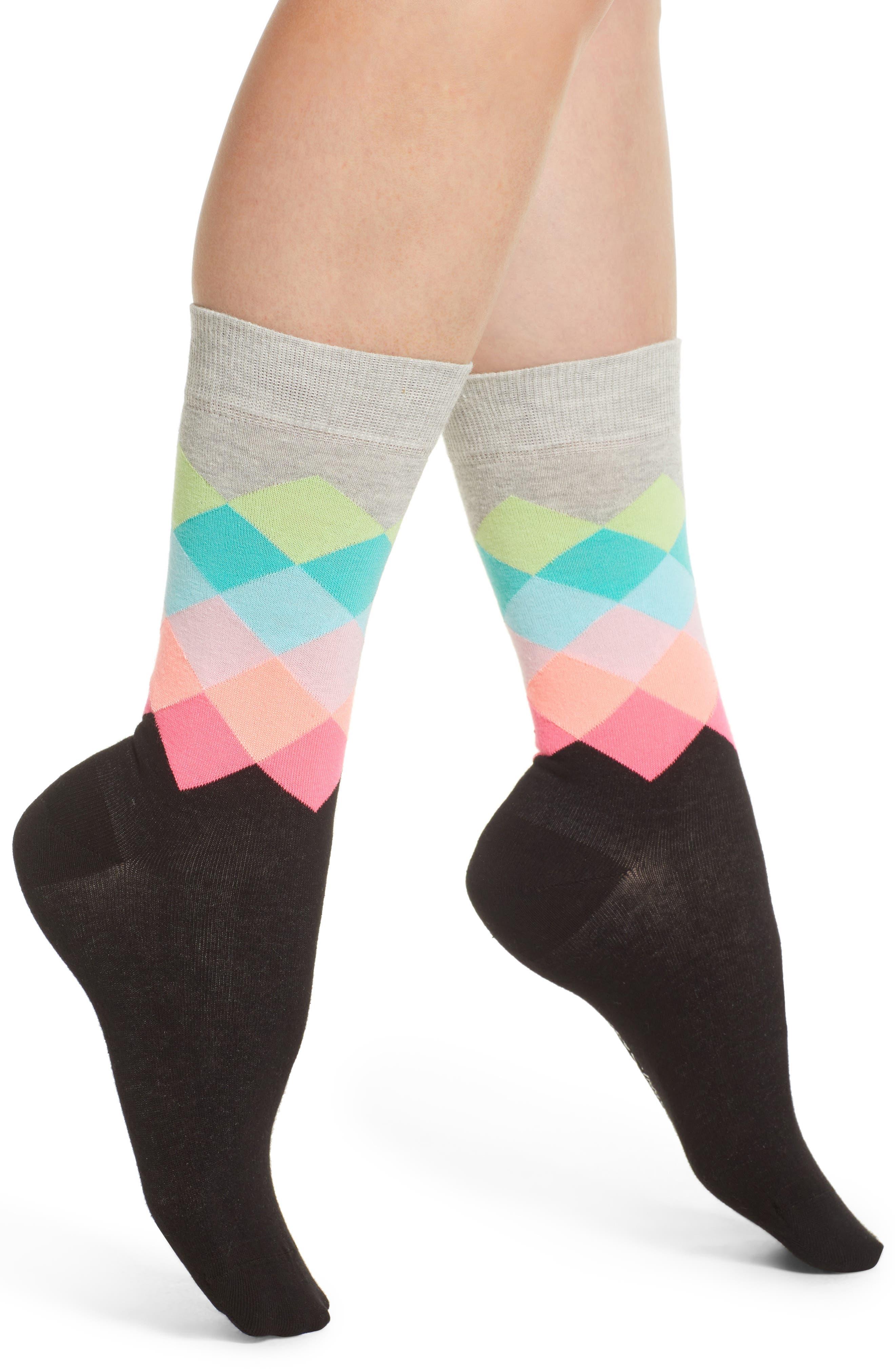 Faded Diamond Crew Socks,                             Main thumbnail 1, color,                             Blk/ Bright