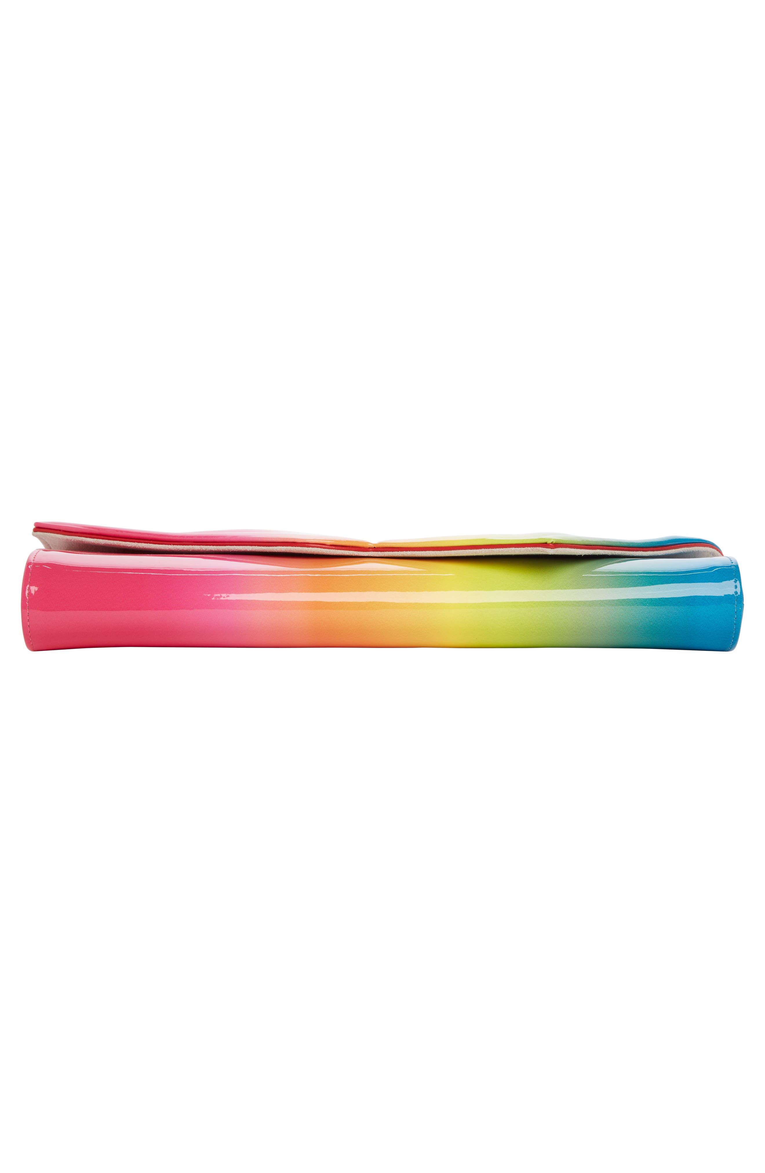 So Kate Rainbow Ombré Patent Leather Clutch,                             Alternate thumbnail 5, color,                             Pink Multi