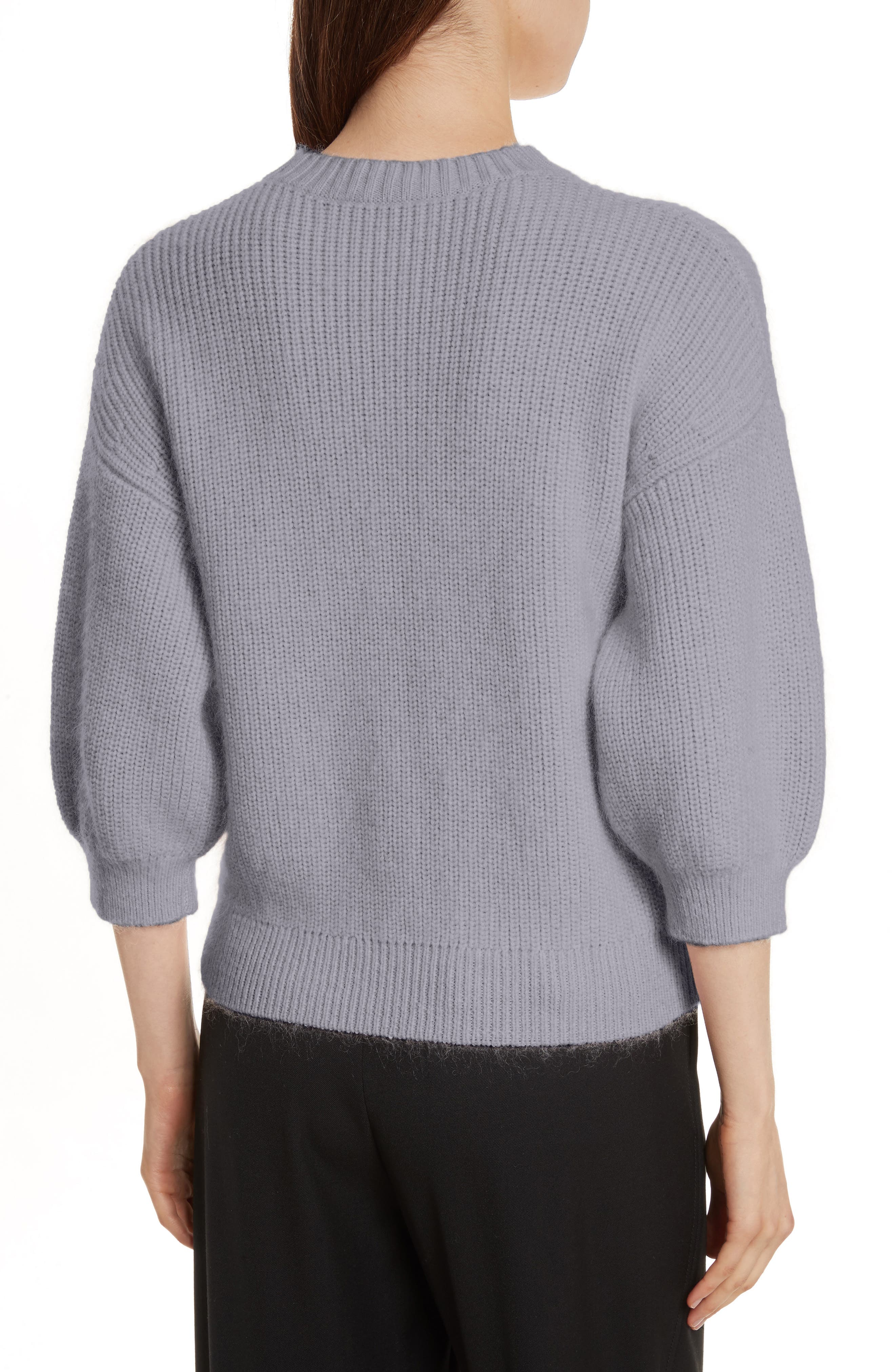 Puff Sleeve Wool & Mohair Blend Sweater,                             Alternate thumbnail 2, color,                             Charcoal