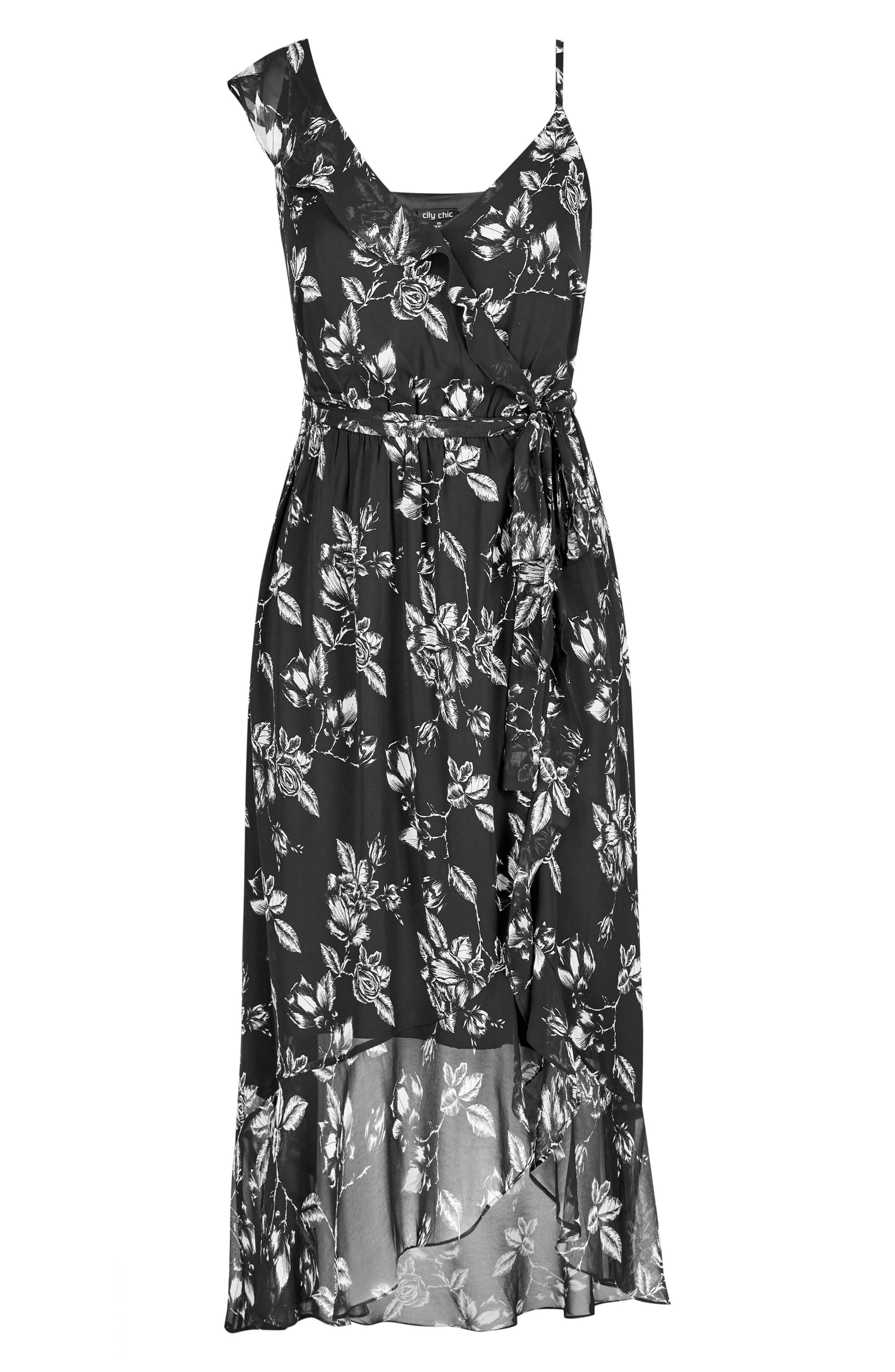 Frill Rose Faux Wrap Dress,                             Alternate thumbnail 3, color,                             Mono Rose