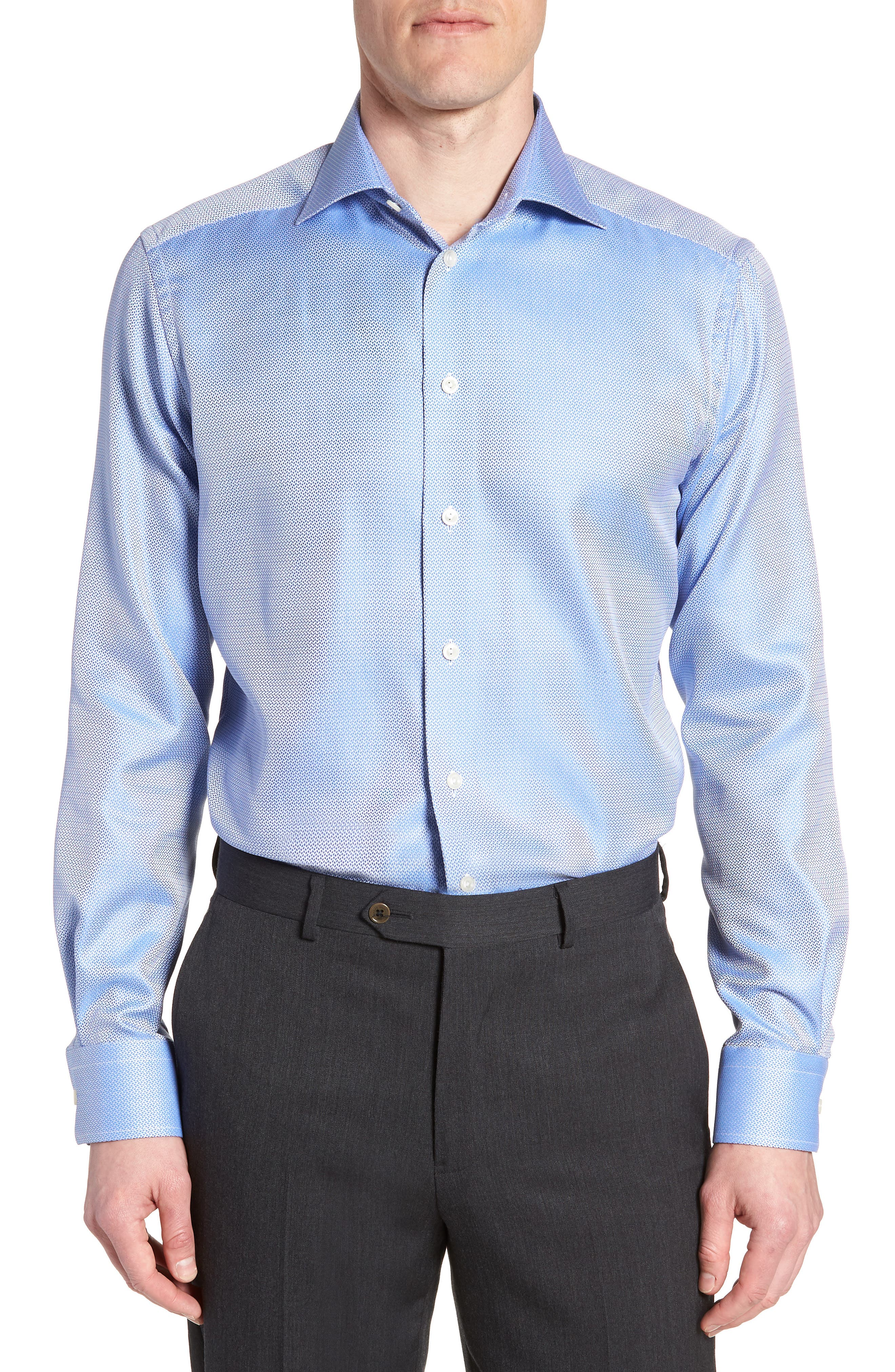Contemporary Fit Print Dress Shirt,                             Main thumbnail 1, color,                             Blue