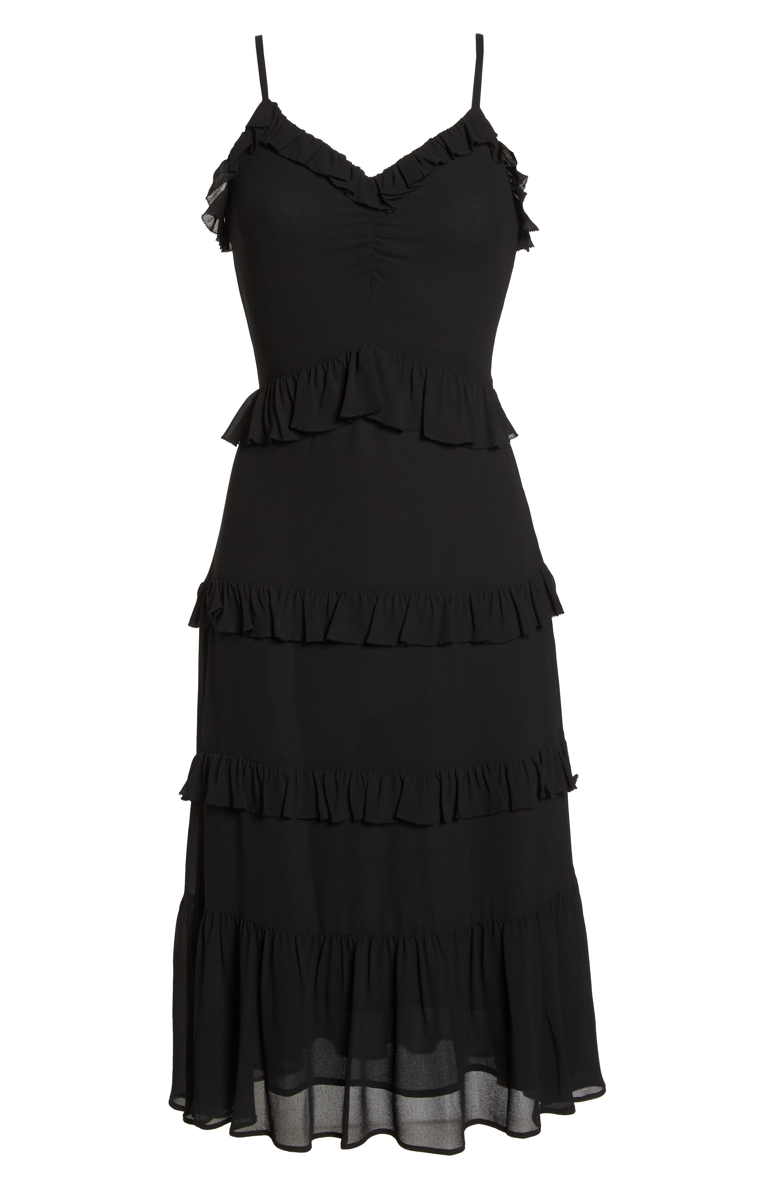 Tiered Ruffle Midi Dress,                             Alternate thumbnail 7, color,                             Black