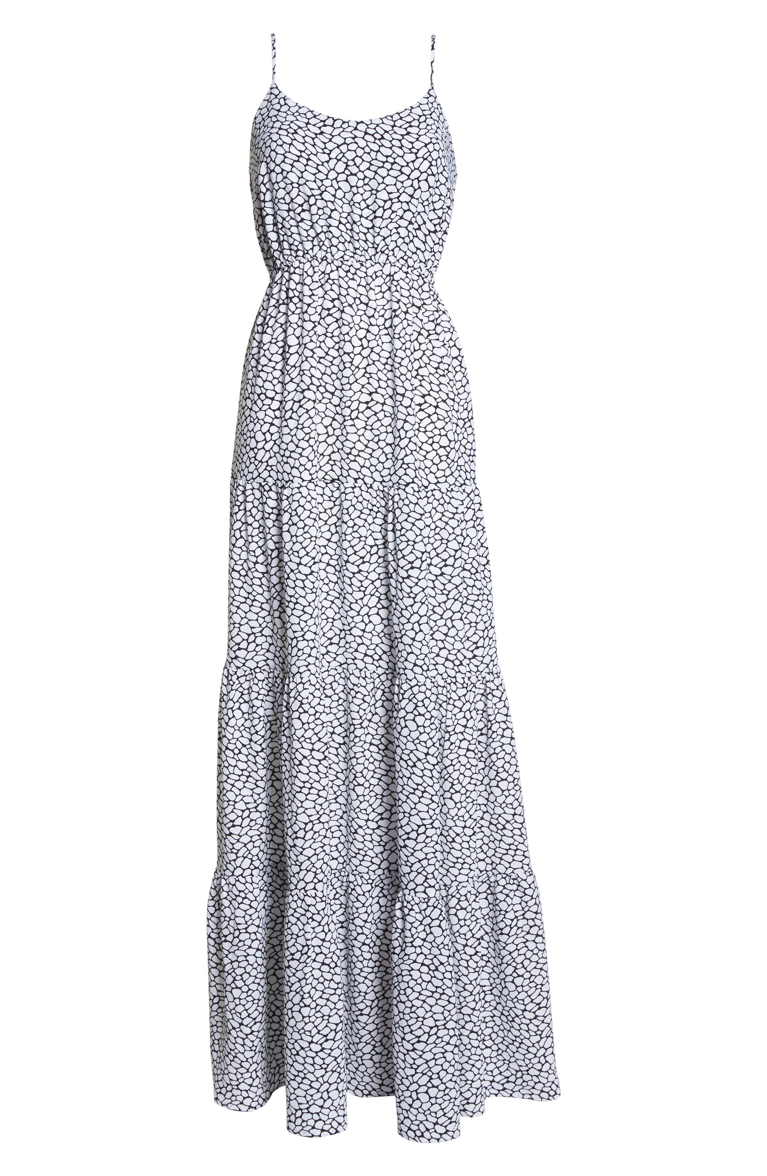 Tiered Maxi Dress,                             Alternate thumbnail 7, color,                             White/ Black