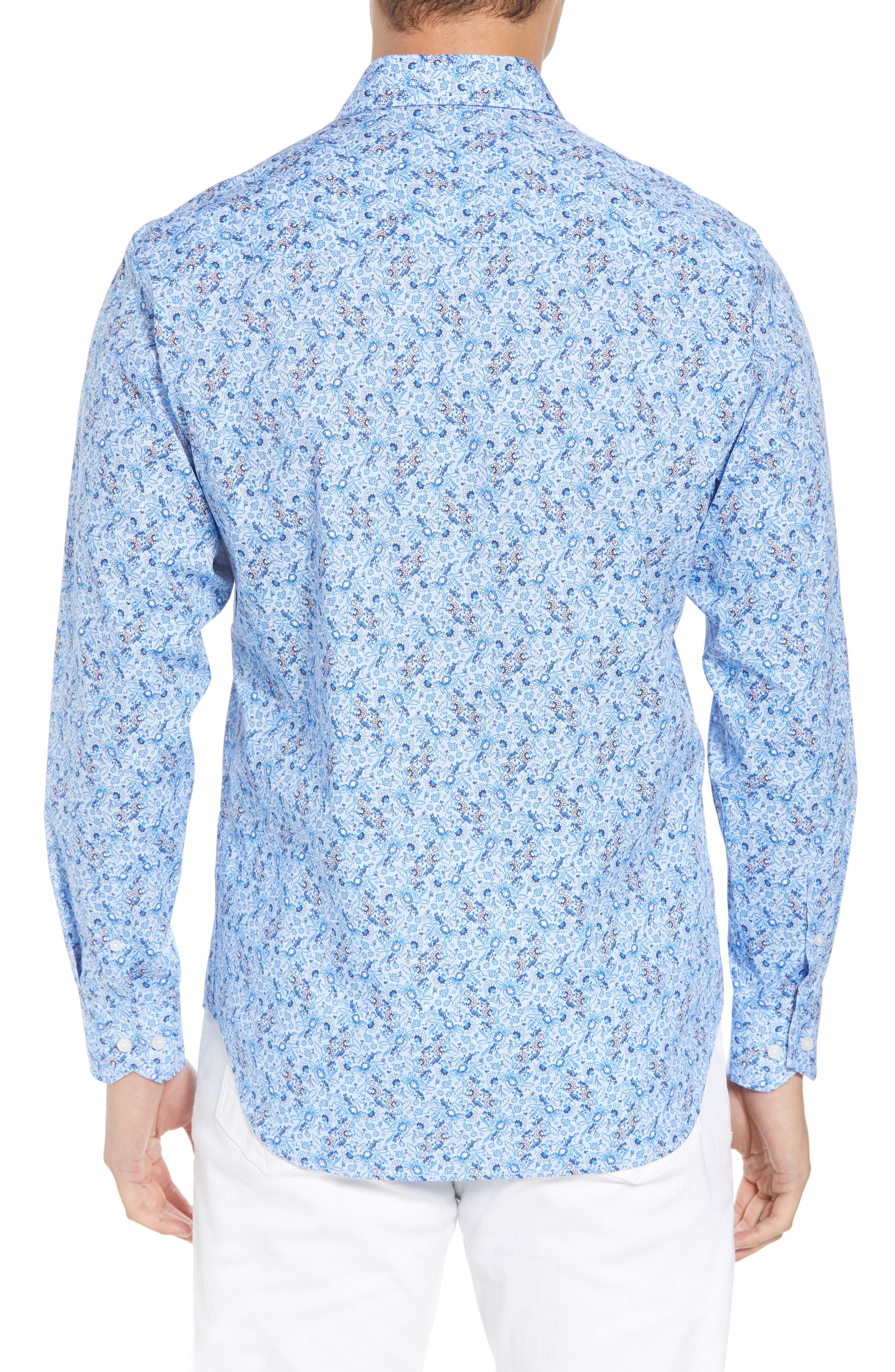 Stewart Regular Fit Floral Sport Shirt,                             Alternate thumbnail 3, color,                             Blue