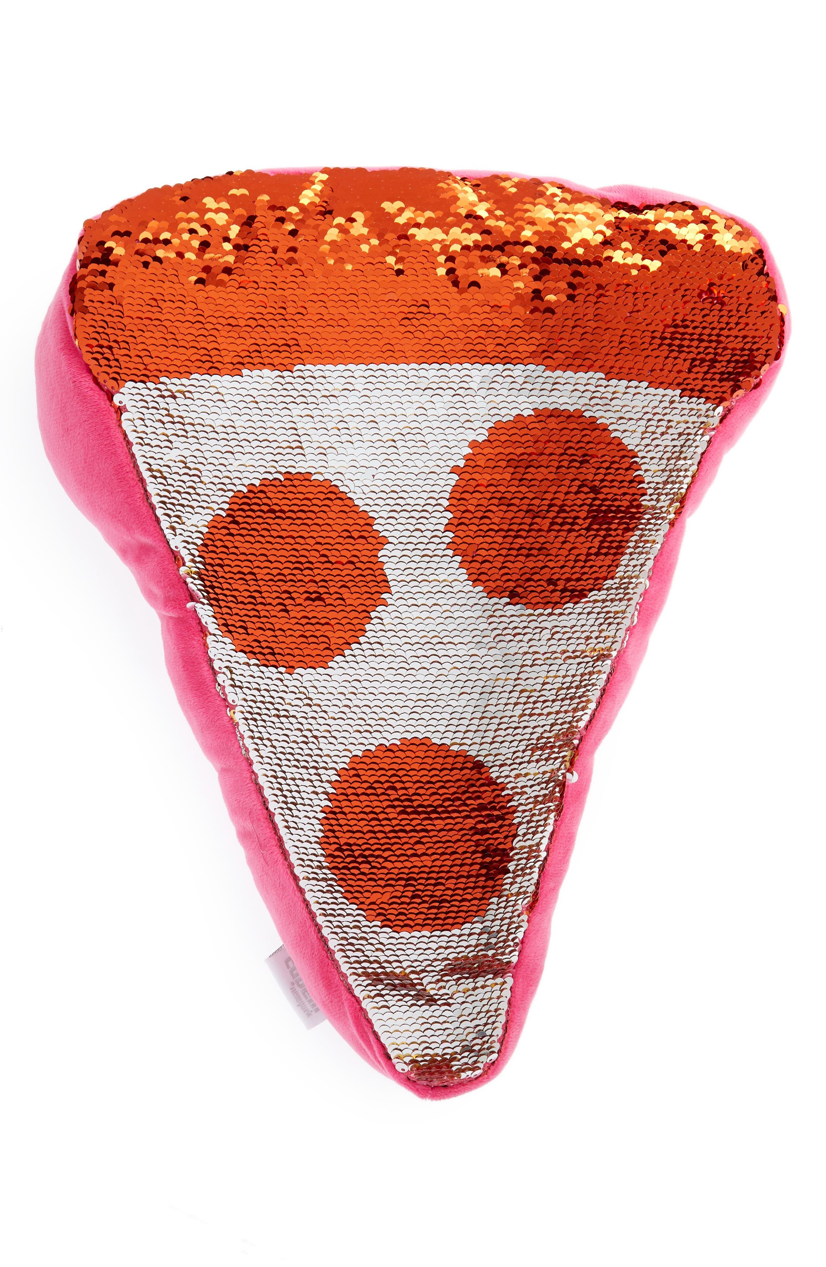 Flip Sequin Pizza Slice Pillow,                             Alternate thumbnail 2, color,                             Pink Combo