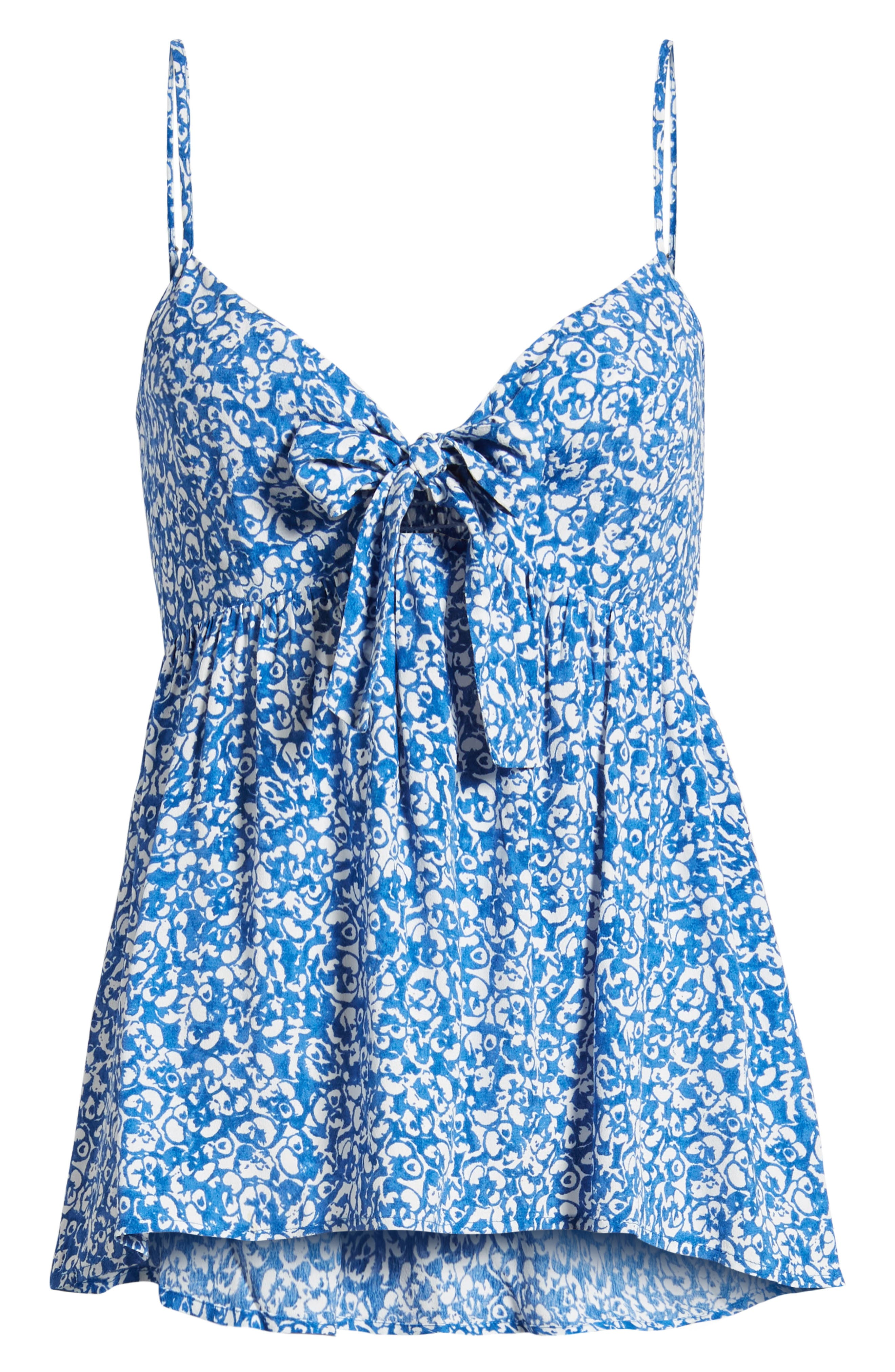 Print Tie Front Camisole,                             Alternate thumbnail 7, color,                             Blue Boat Lost Ditsy