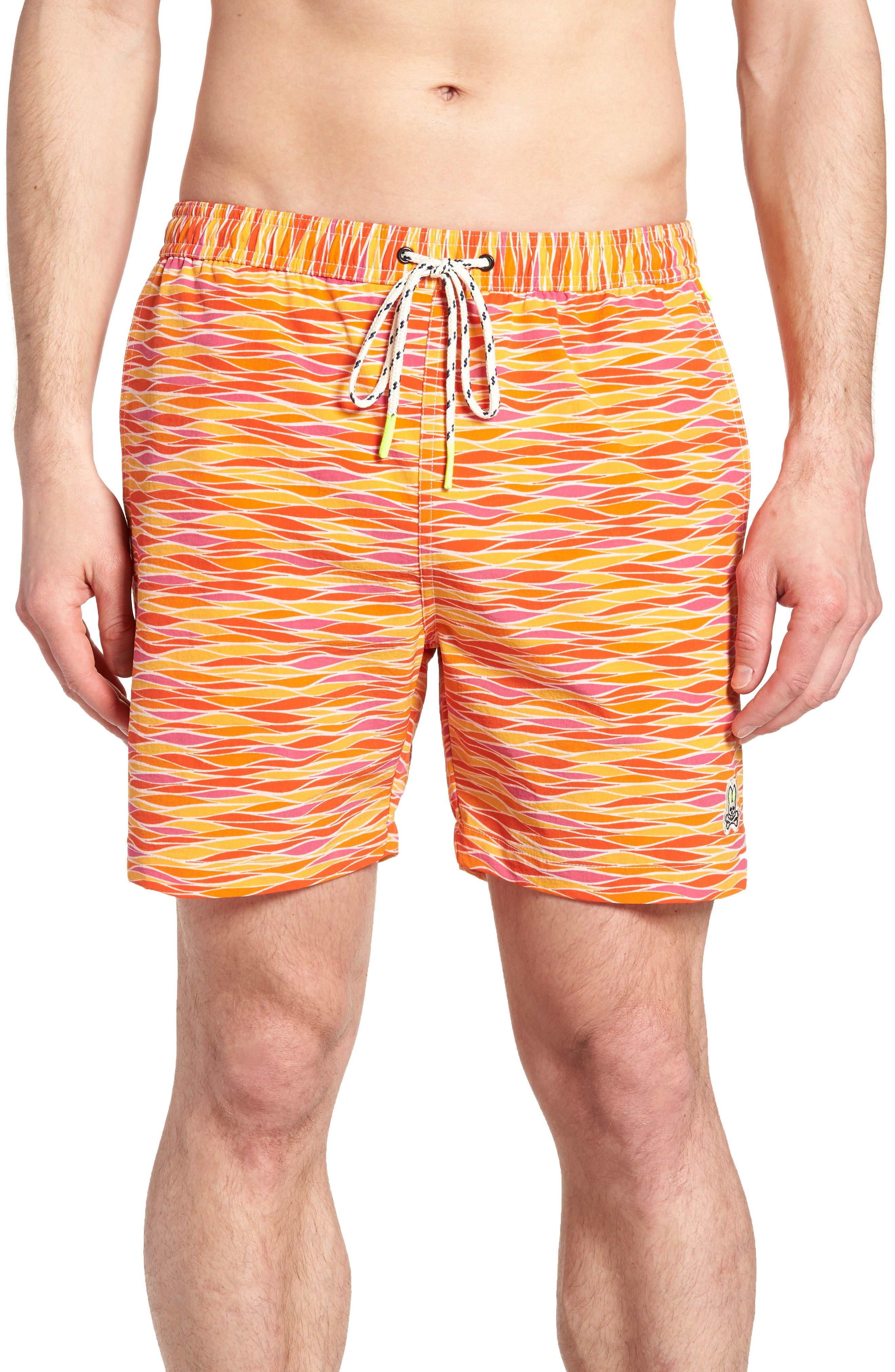 Printer Swim Trunks,                         Main,                         color, Fuego